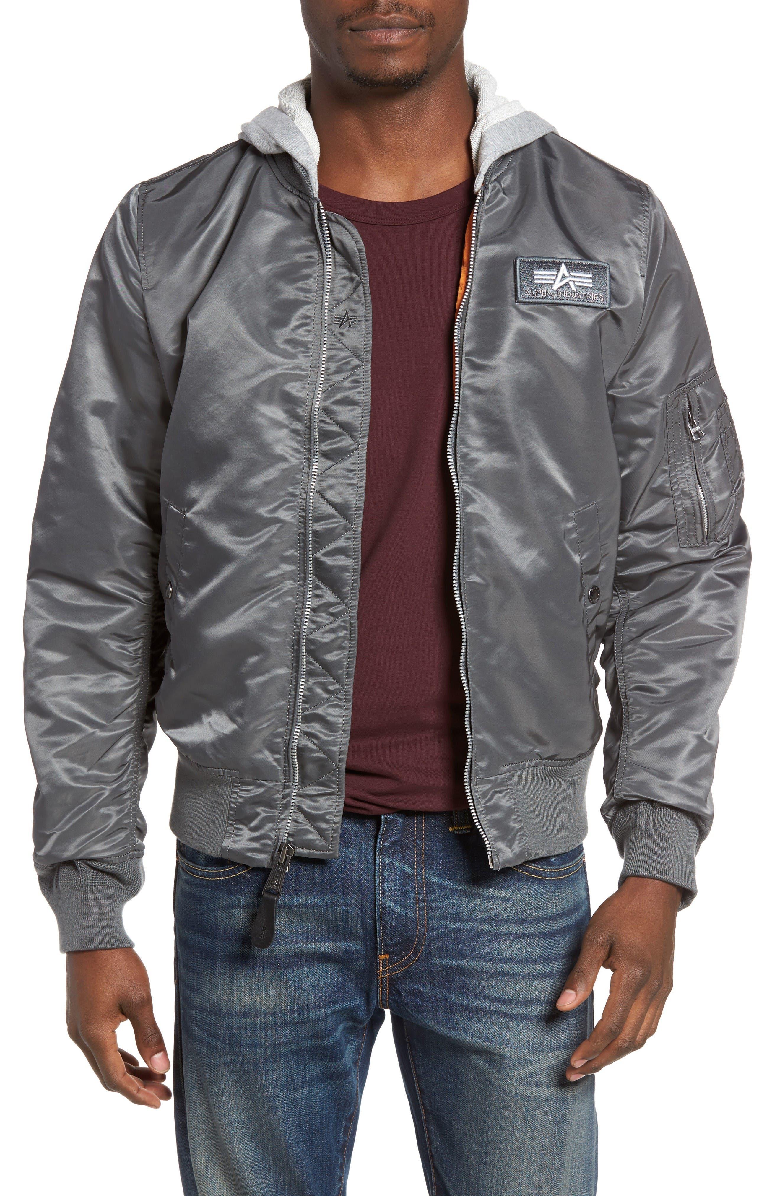 Lightweight L2-B Flight Jacket with Knit Hood,                         Main,                         color, Gunmetal
