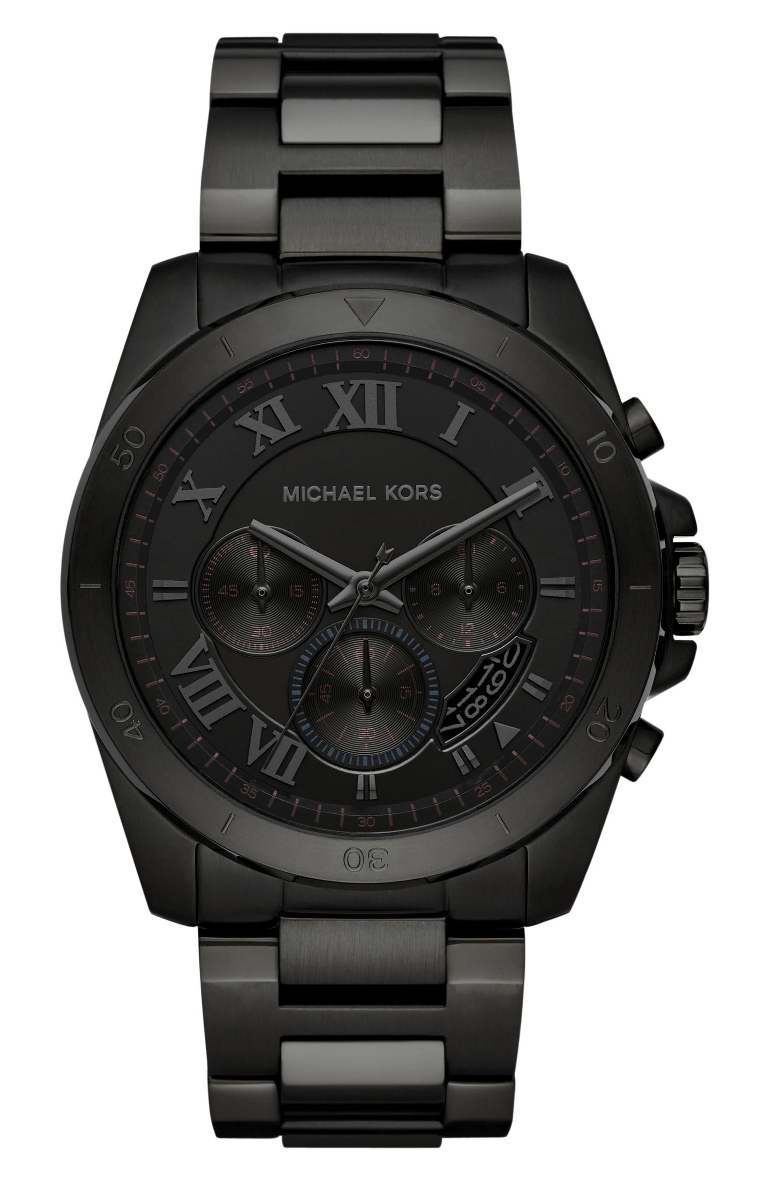 'Brecken' Chronograph Silicone Strap Watch, 44mm,                         Main,                         color, Black