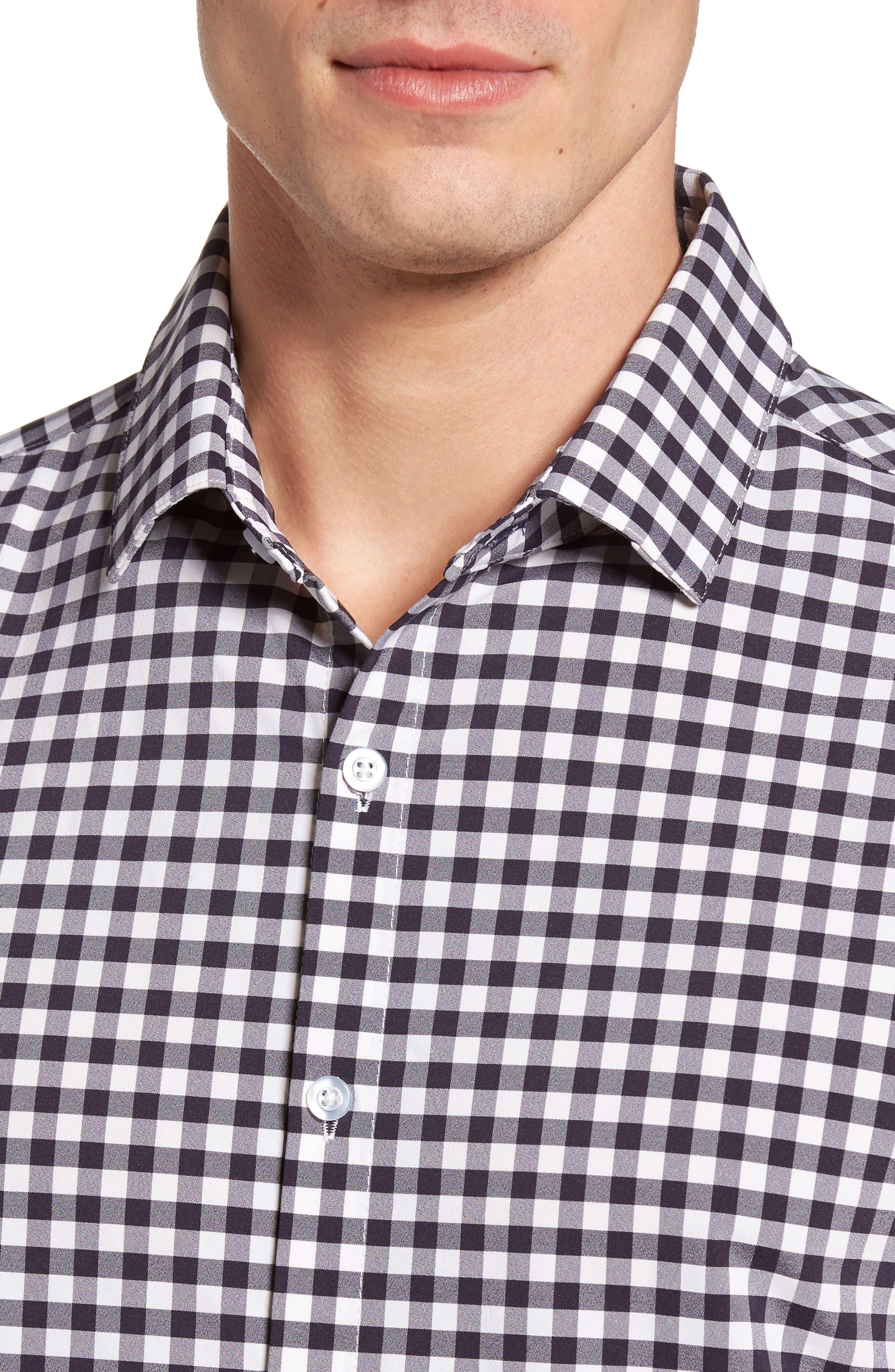 Montauk Slim Fit Gingham Performance Sport Shirt,                             Alternate thumbnail 2, color,                             Navy
