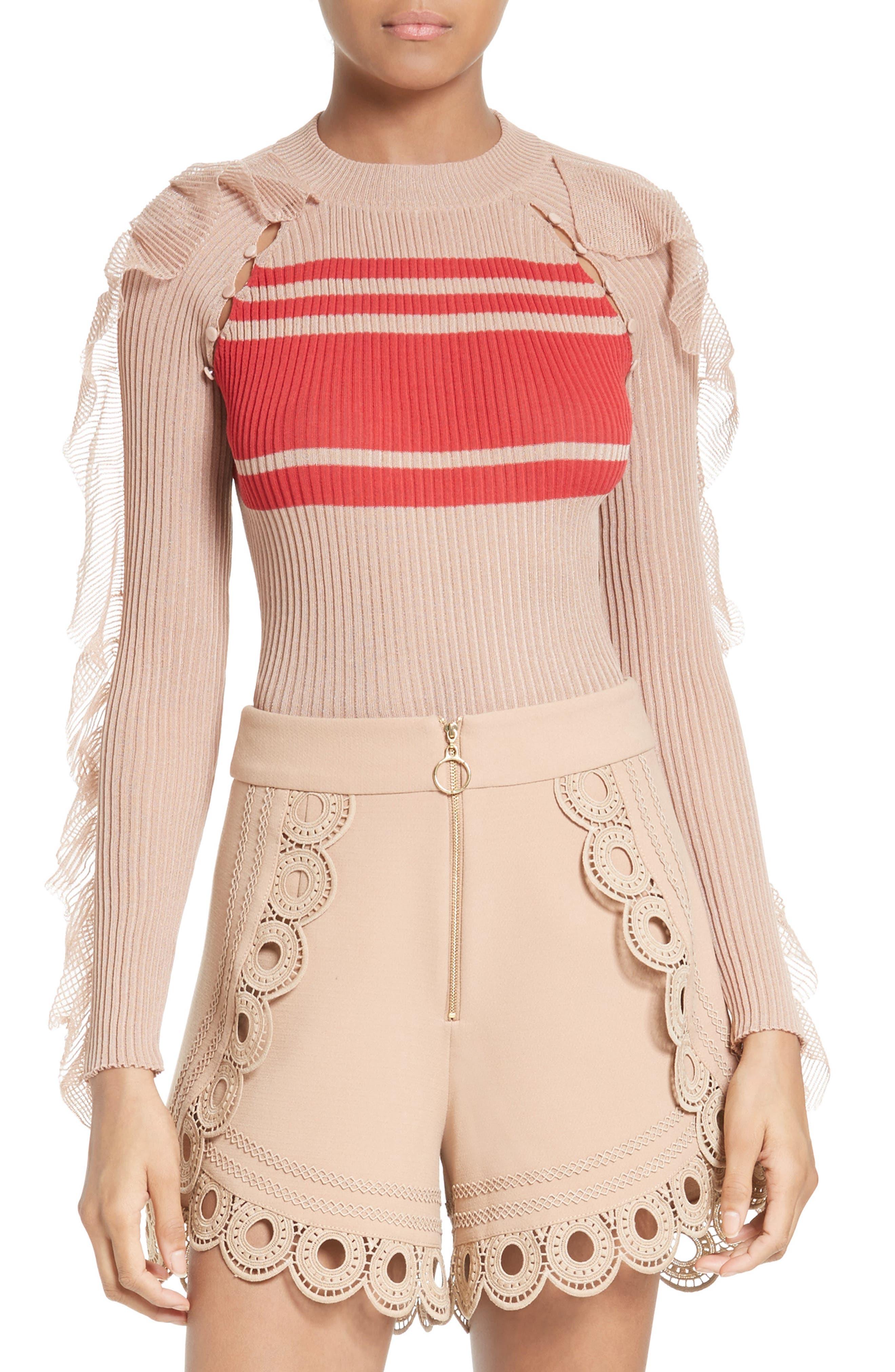 Main Image - Self-Portrait Frilled Stripe Sweater