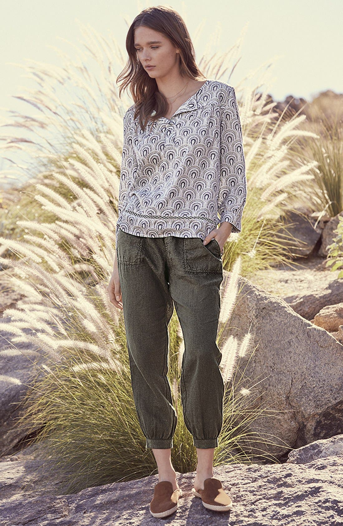 Crop Linen Joggers,                             Alternate thumbnail 2, color,                             Olive Tuscan