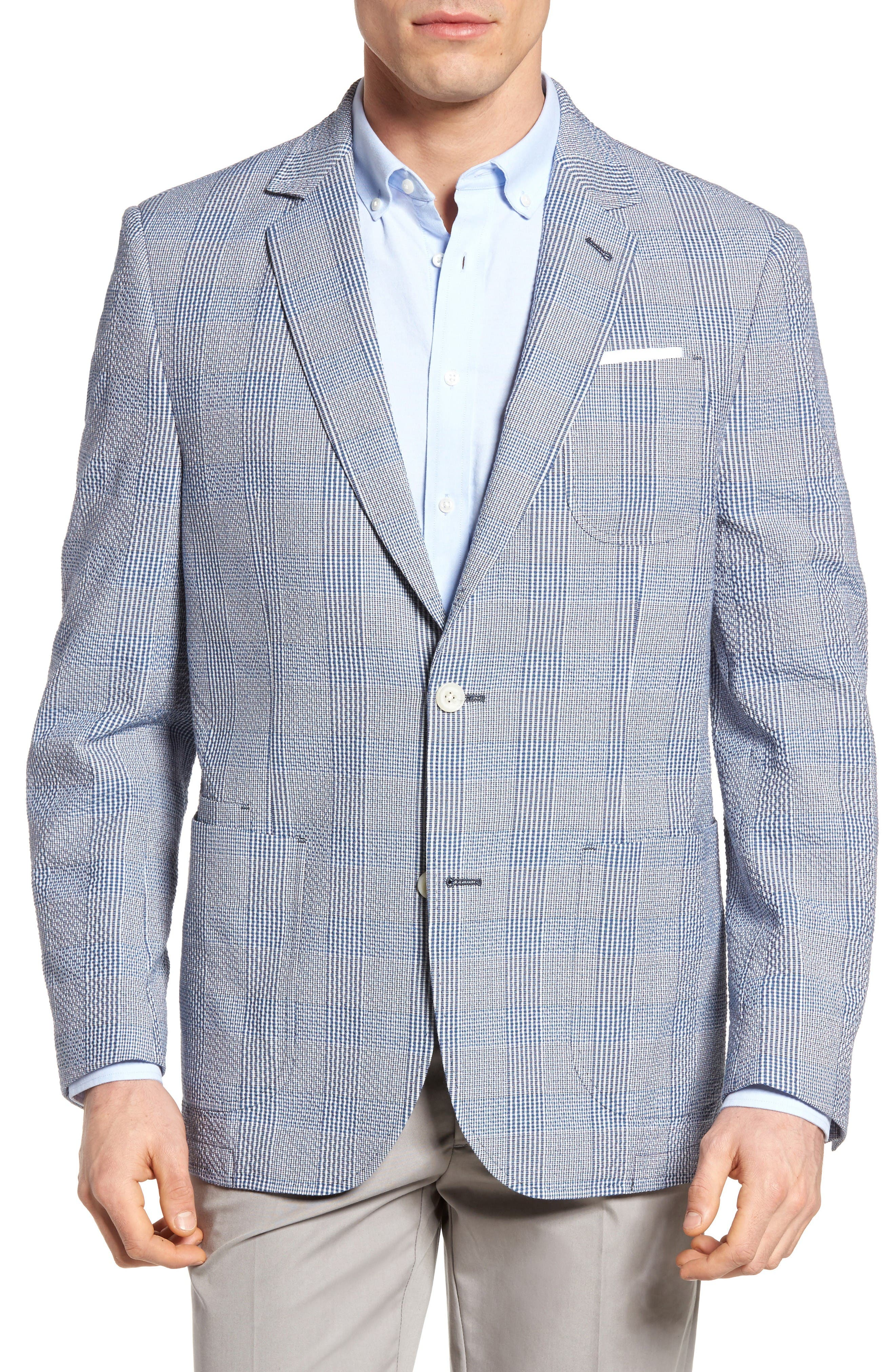 Babbitt Plaid Seersucker Sport Coat,                         Main,                         color, Blue