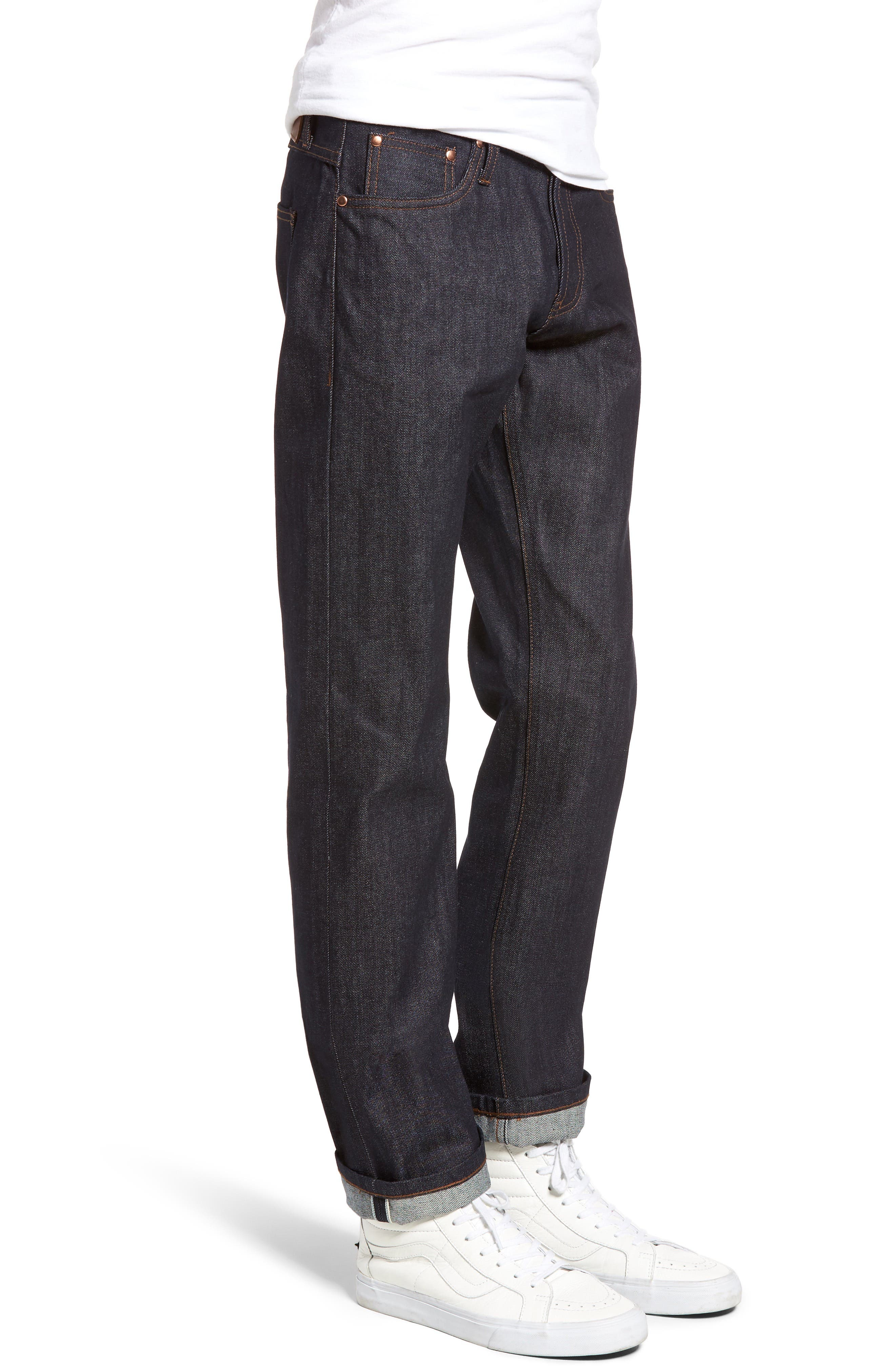 Alternate Image 3  - The Unbranded Brand UB301 Straight Leg Raw Selvedge Jeans (Indigo)