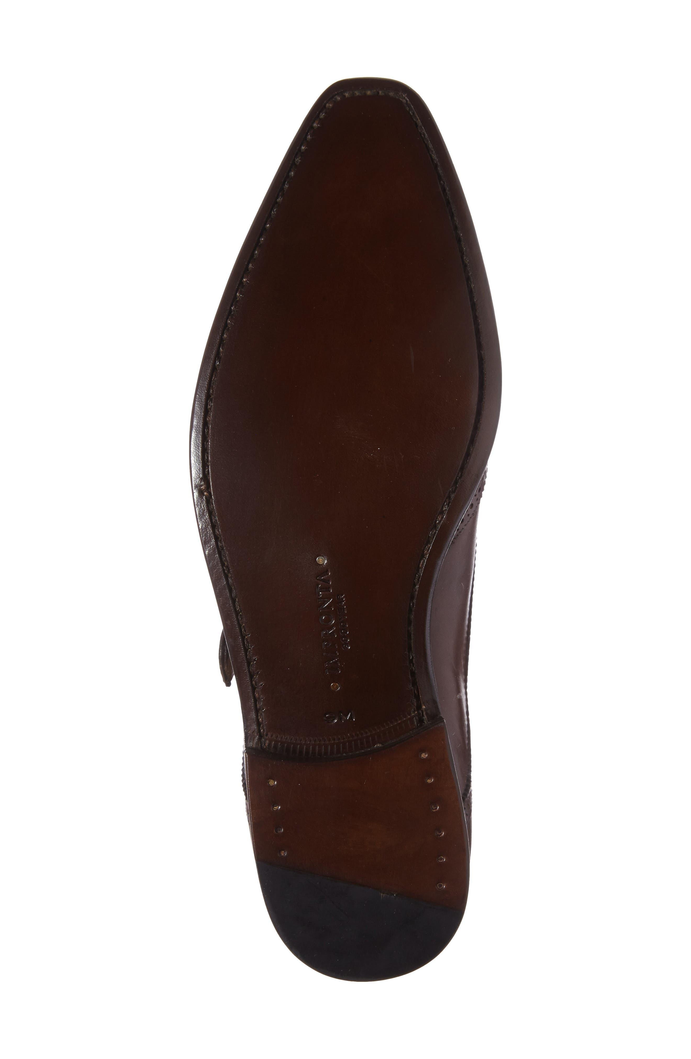 by Mezlan G121 Wingtip Monk Strap Shoe,                             Alternate thumbnail 4, color,                             Cognac