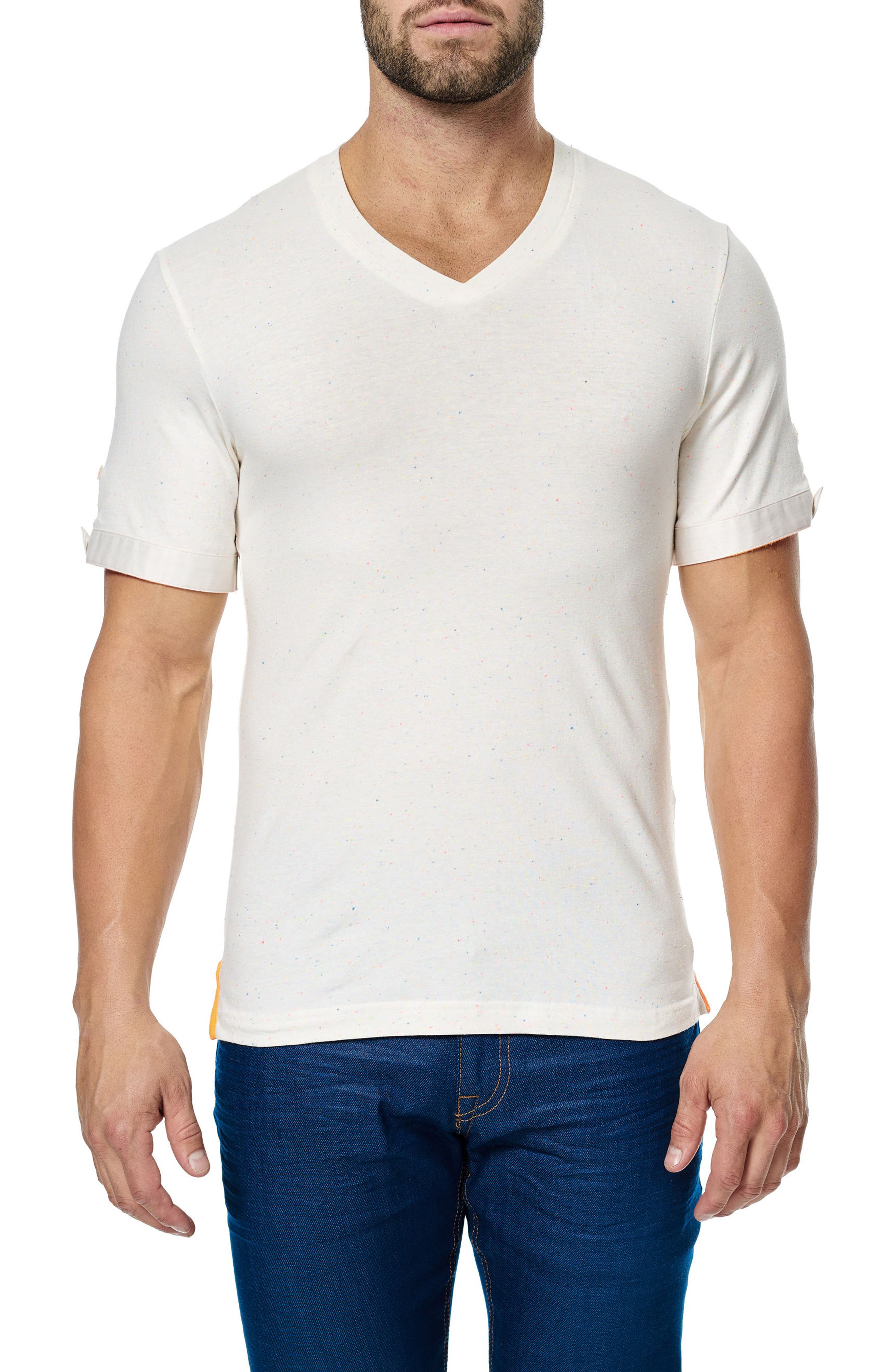 V-Neck Stretch T-Shirt,                         Main,                         color, Solid White