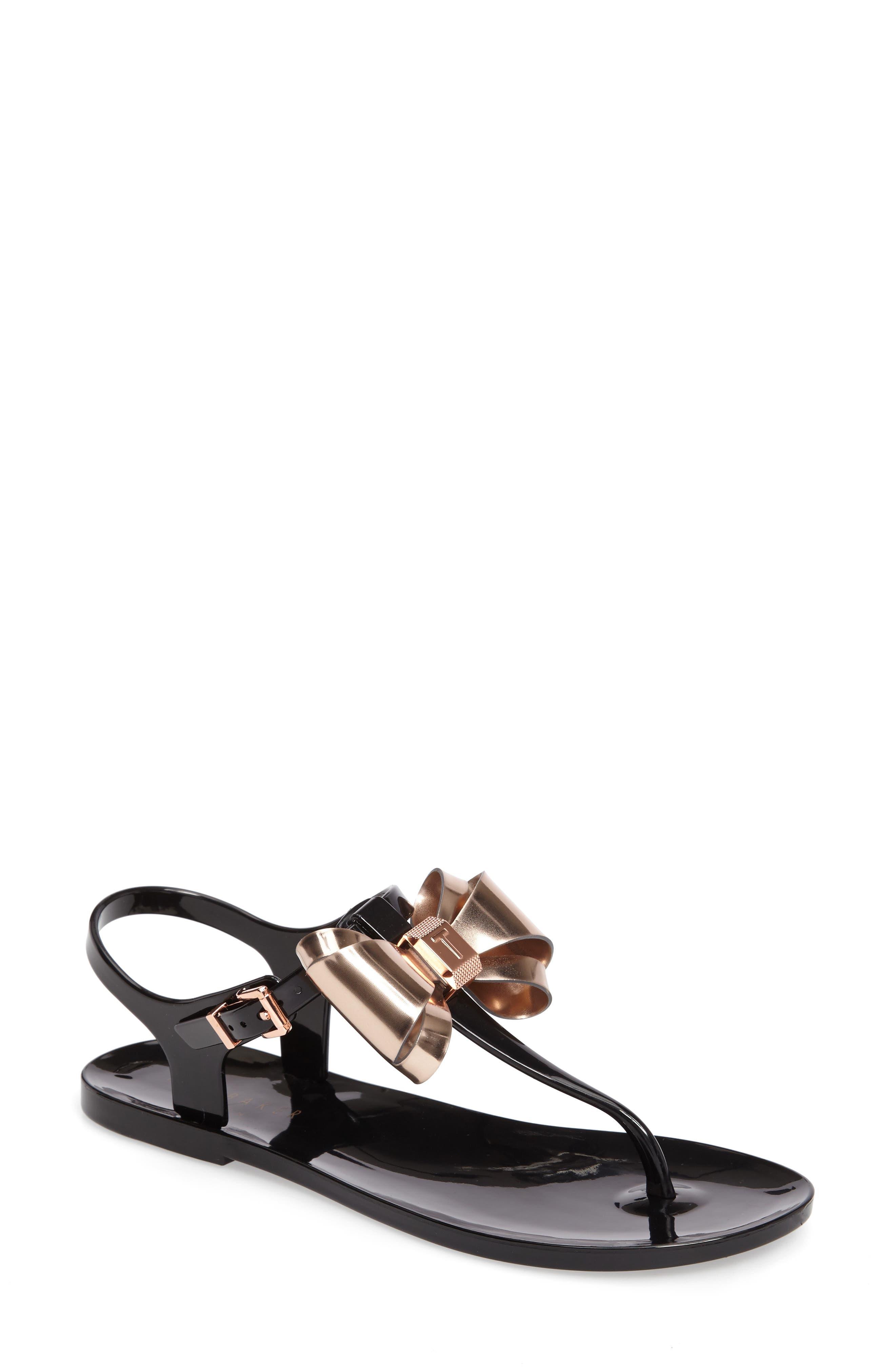 Ainda Slingback Bow Sandal,                         Main,                         color, Black/ Rose Gold