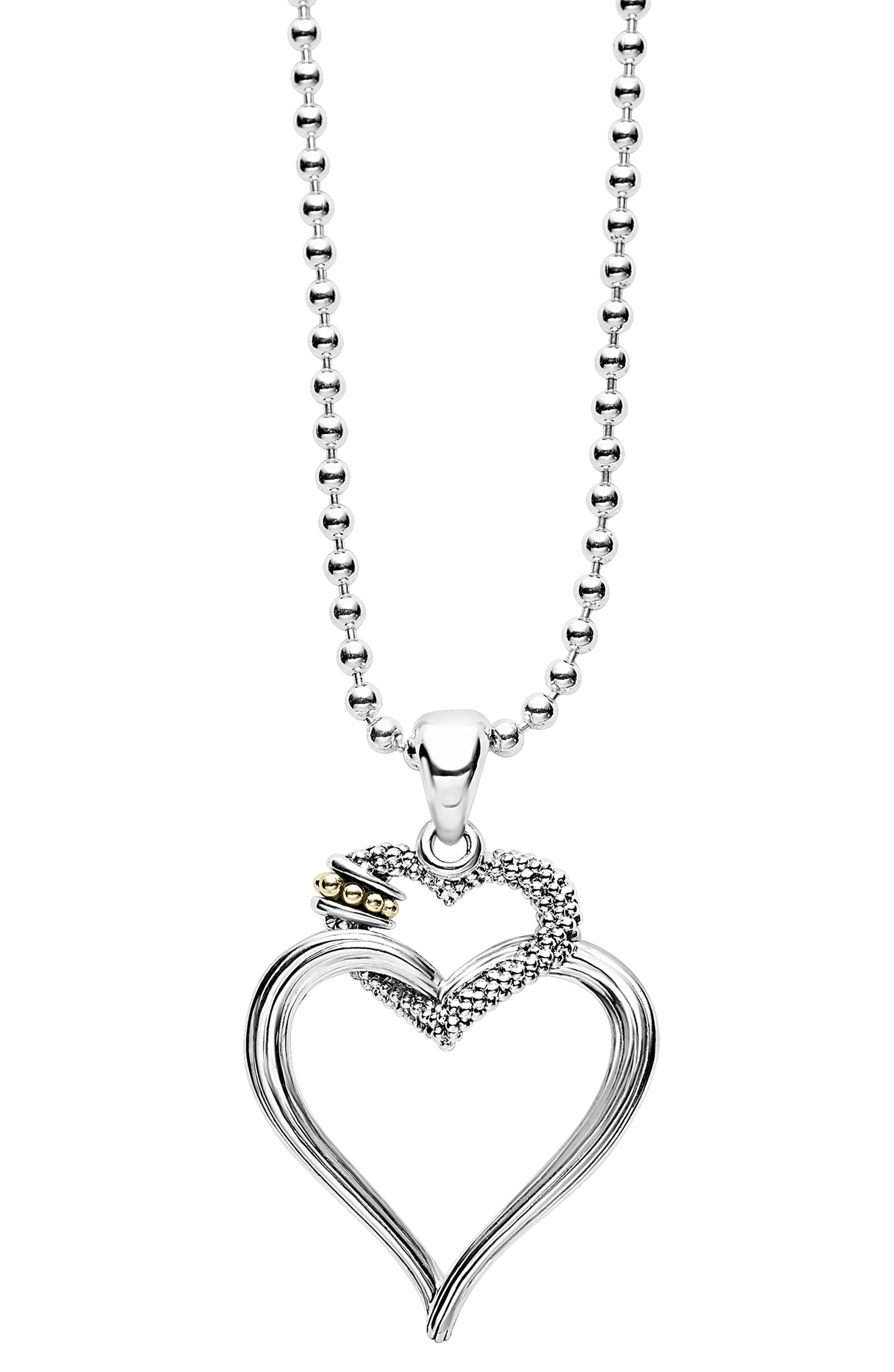 Beloved Heart Pendant Necklace,                         Main,                         color, Silver