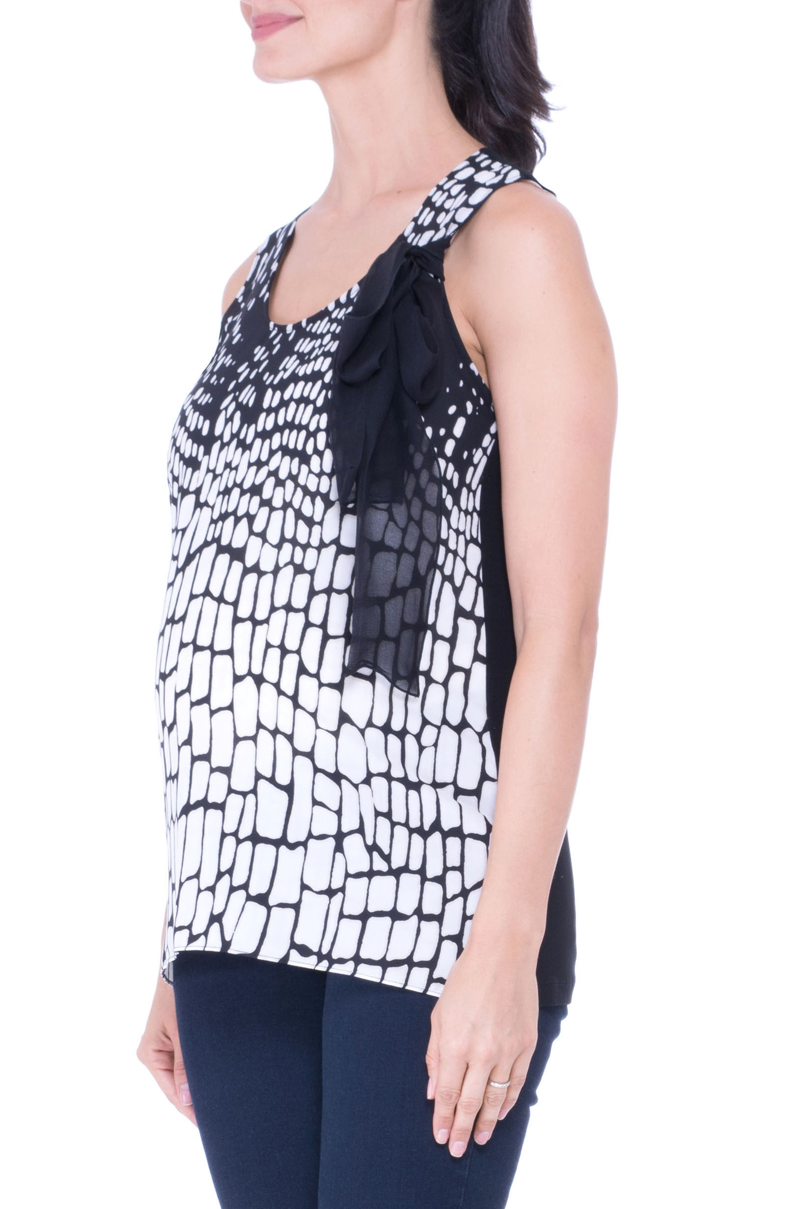 Print Maternity Tank,                             Alternate thumbnail 3, color,                             Black/ White