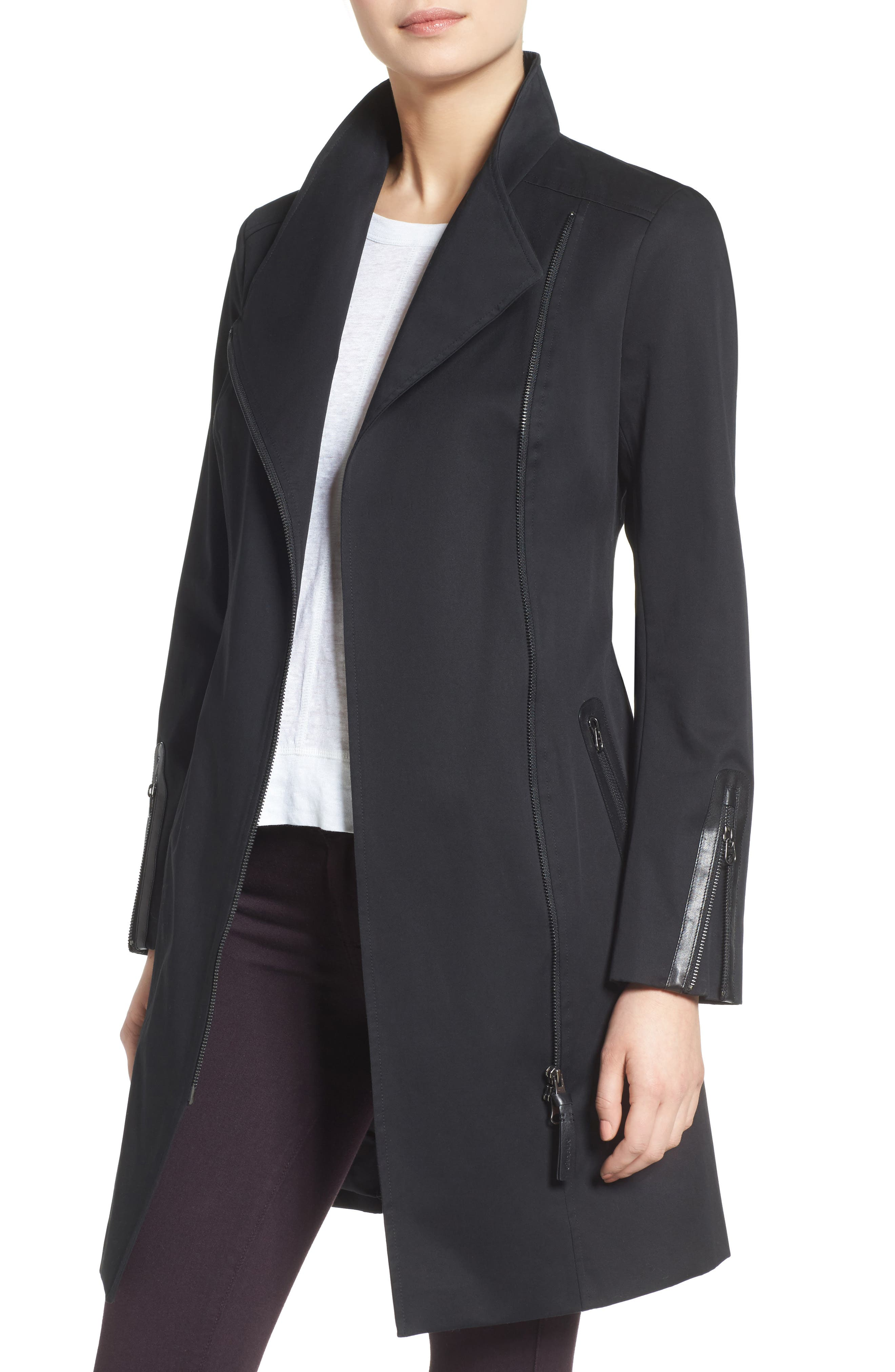 Estela Belted Long Trench Coat,                             Main thumbnail 1, color,                             Black