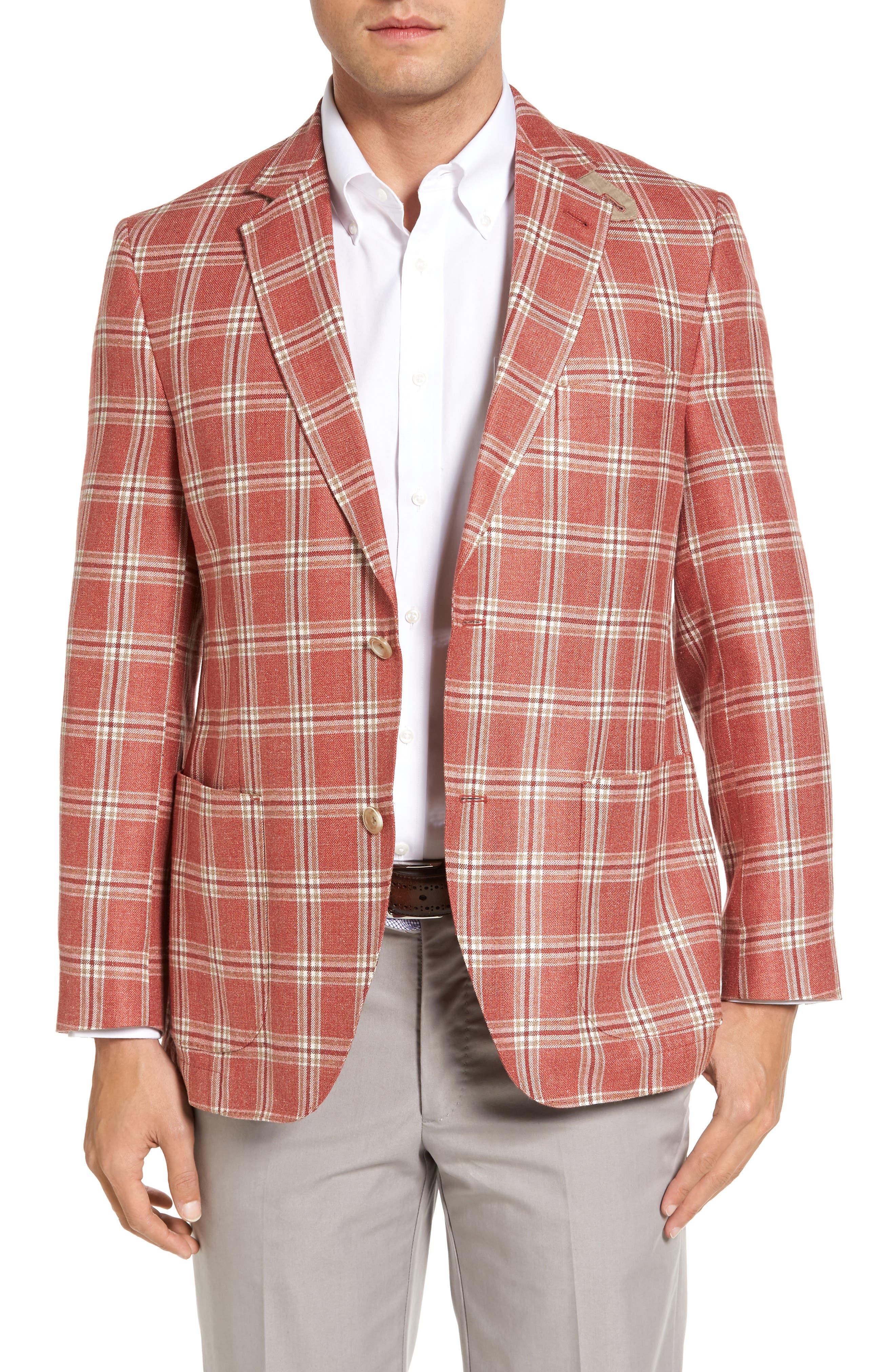 Bono 2 Classic Fit Plaid Silk Blend Sport Coat,                         Main,                         color, Magenta