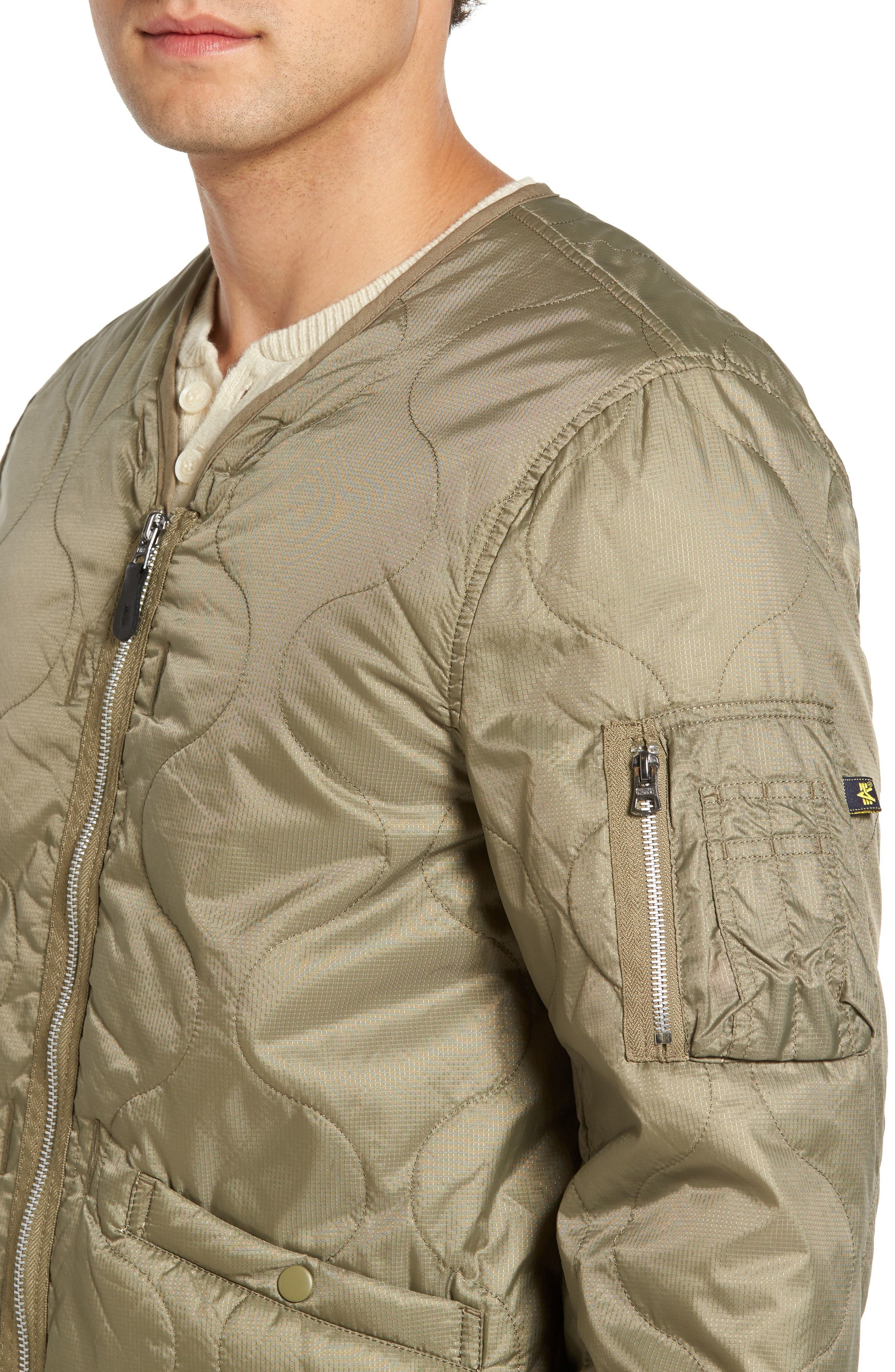 Pioneer Quilted Bomber Jacket,                             Alternate thumbnail 4, color,                             Sage