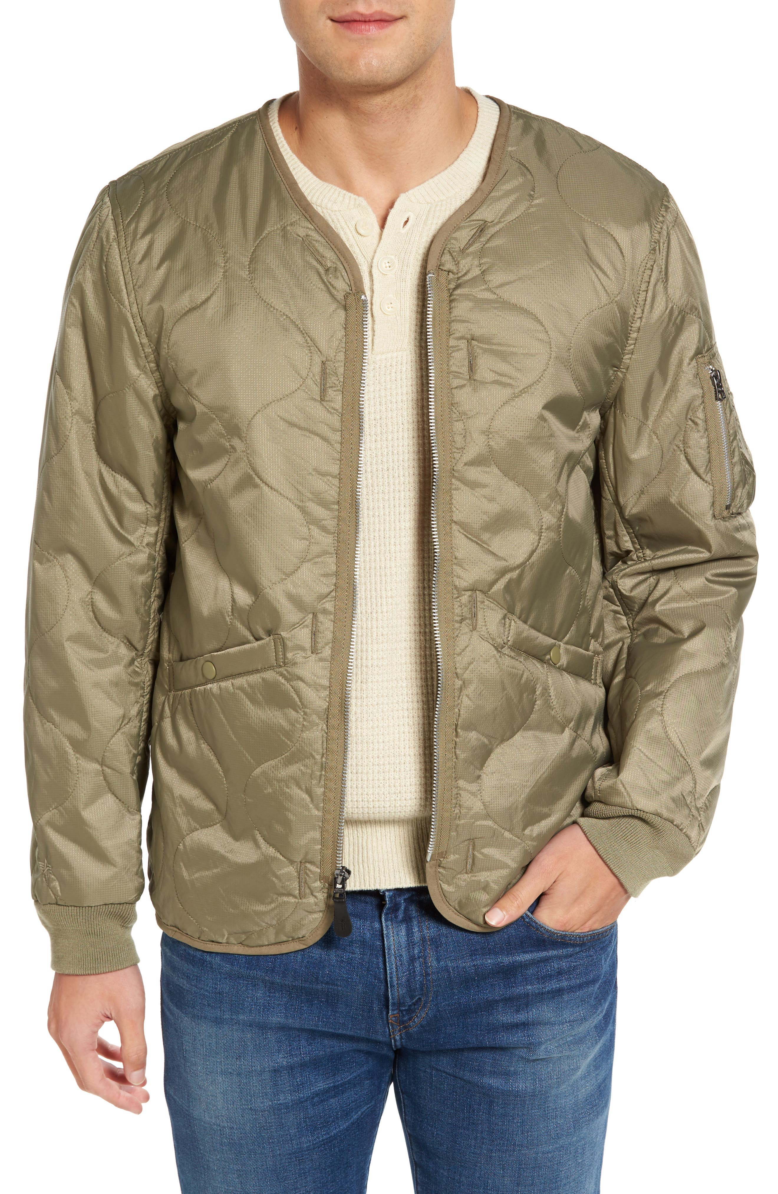 Pioneer Quilted Bomber Jacket,                         Main,                         color, Sage