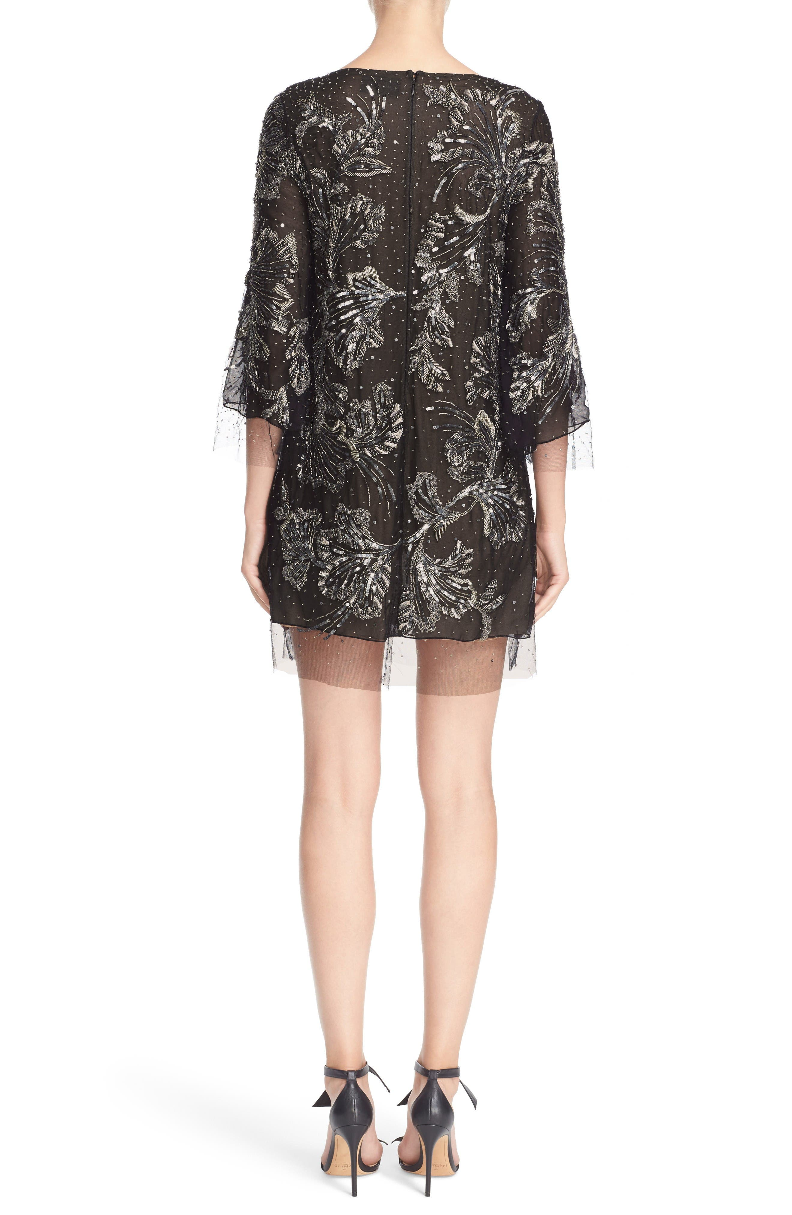 Embellished Three Quarter Sleeve Tulle Tunic,                             Alternate thumbnail 2, color,                             Charcoal
