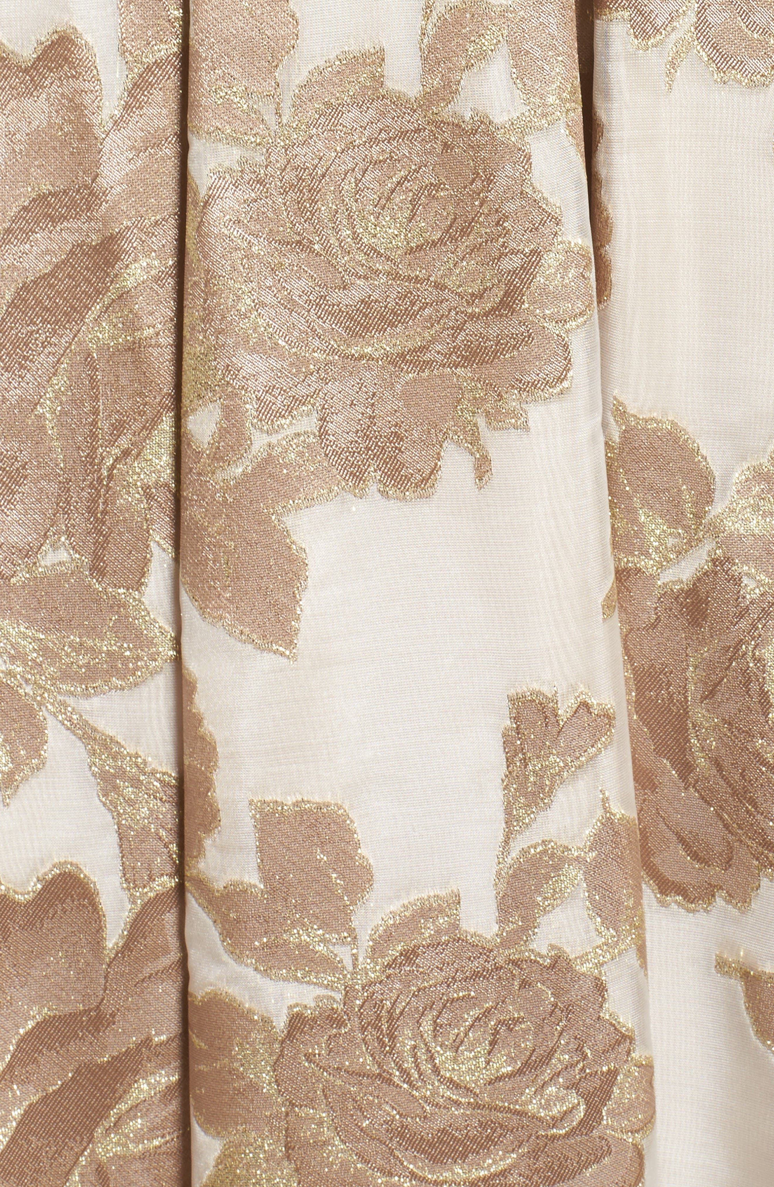 Embellished Floral Jacquard Fit & Flare Gown,                             Alternate thumbnail 5, color,                             Champagne