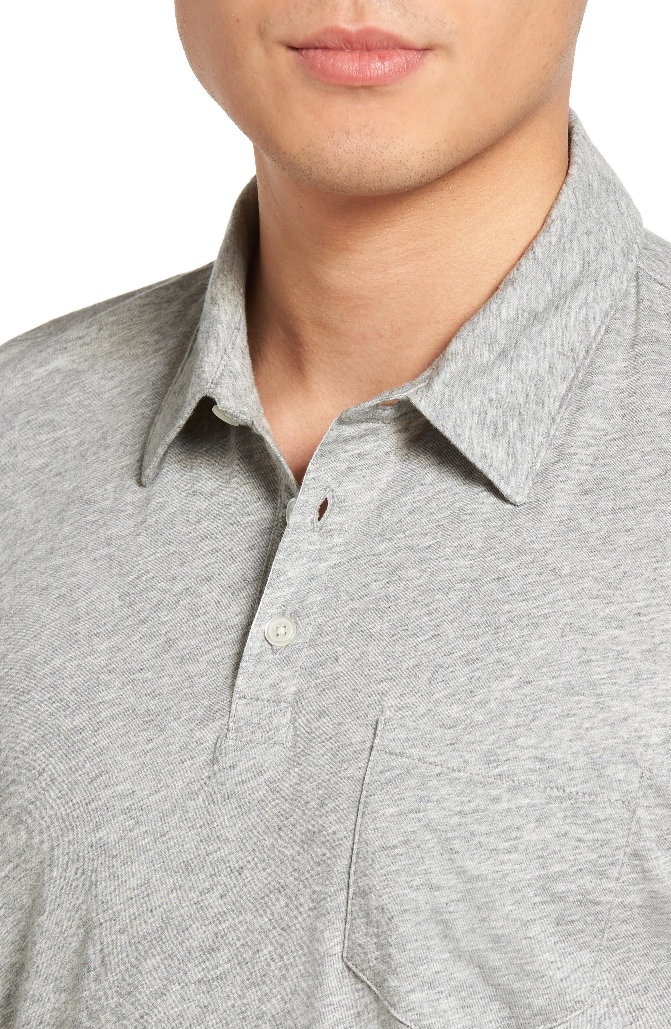 Breve Jersey Polo,                             Alternate thumbnail 4, color,                             Light Grey