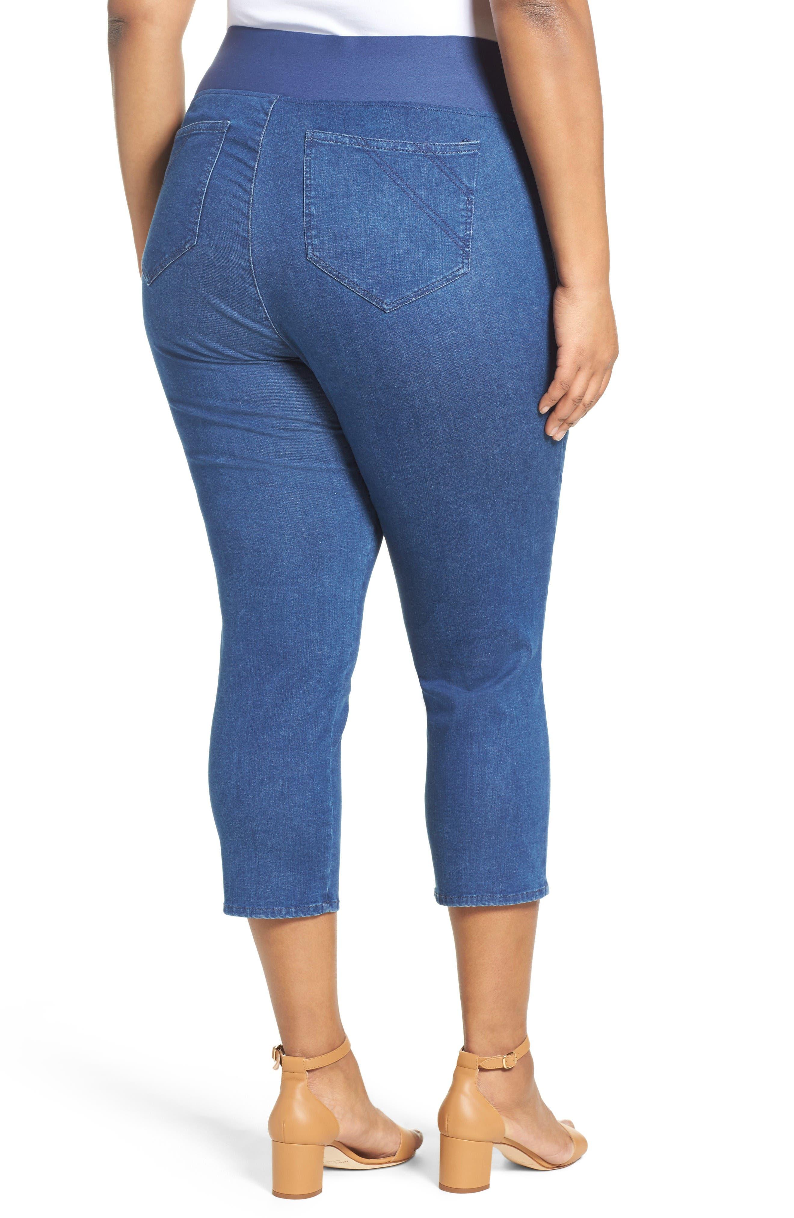 Alternate Image 2  - Foxcroft Nina Slimming Pull-On Capri Jeans (Plus Size)