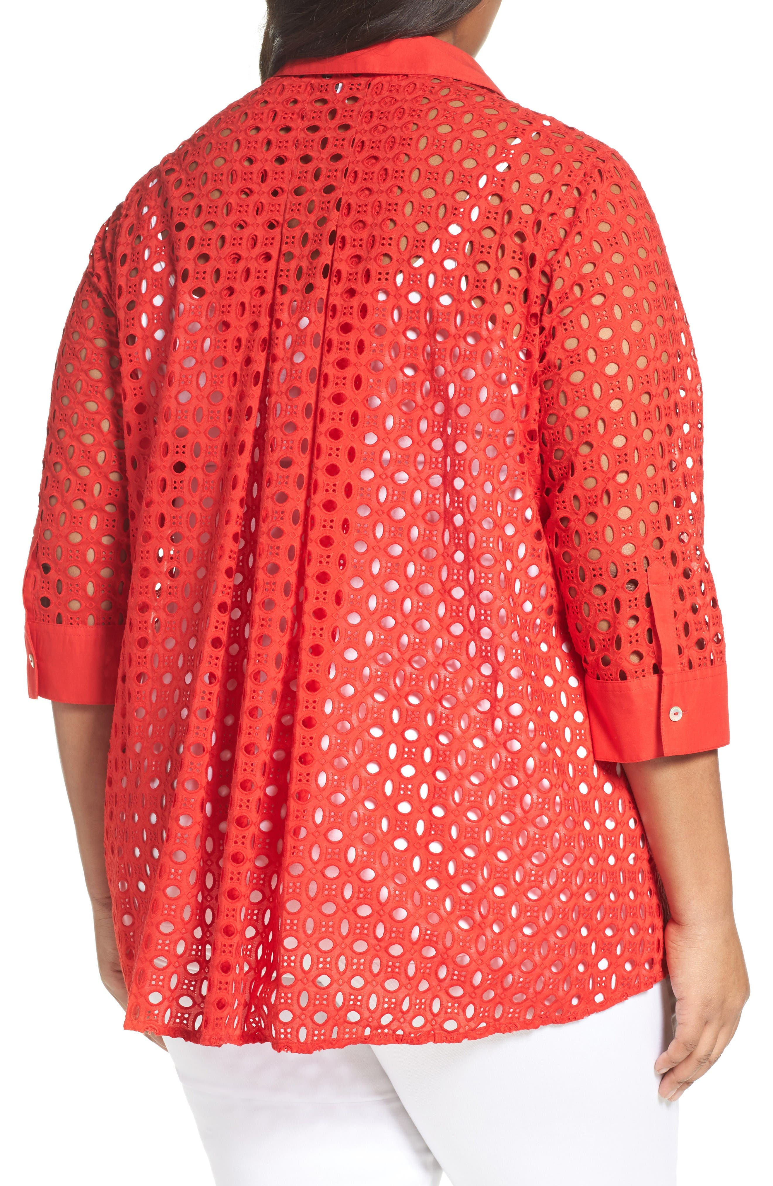 Alternate Image 2  - Foxcroft Eyelet Cotton Tunic (Plus Size)