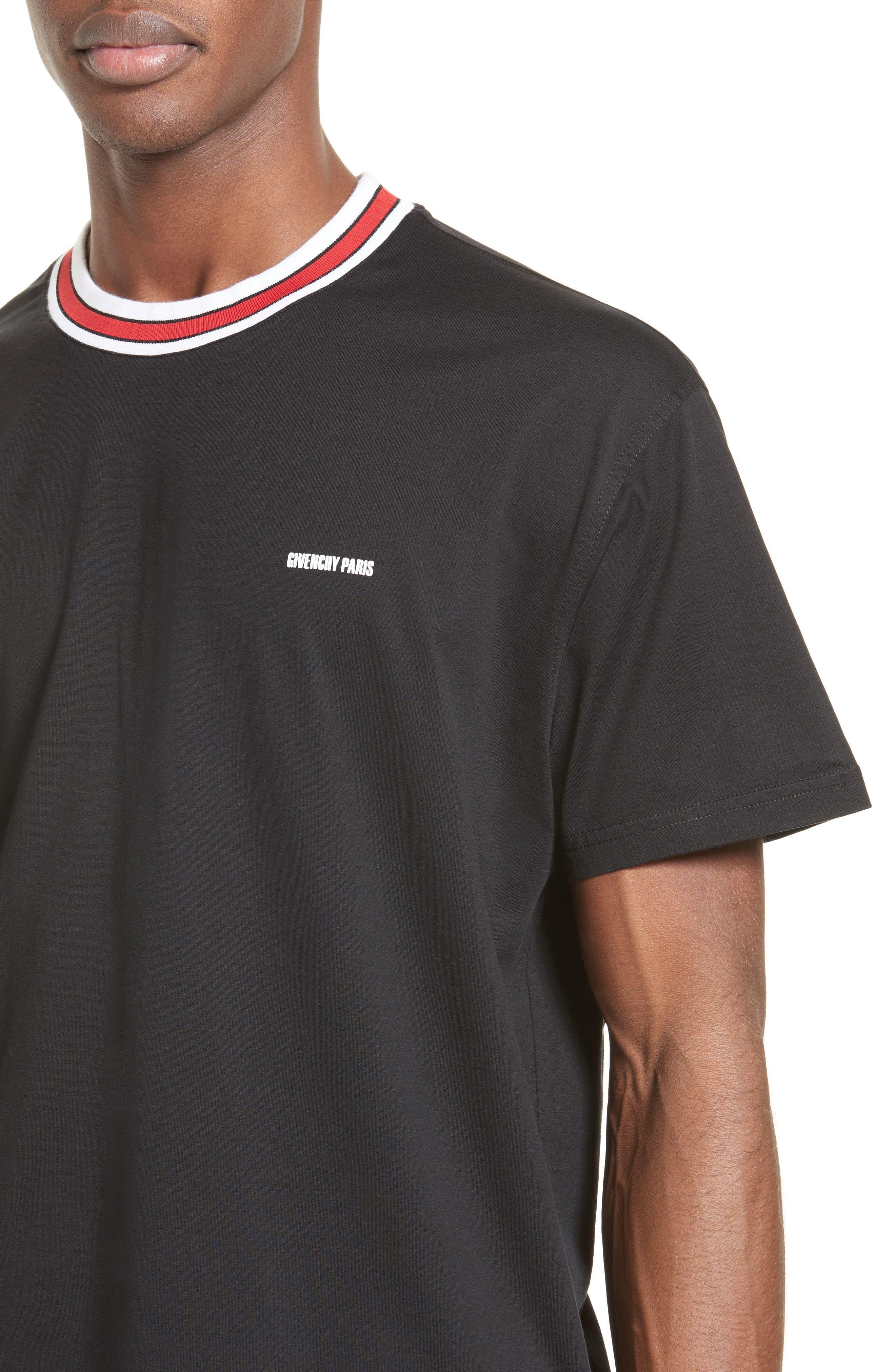 Logo Print Crewneck T-Shirt,                             Alternate thumbnail 4, color,                             Black