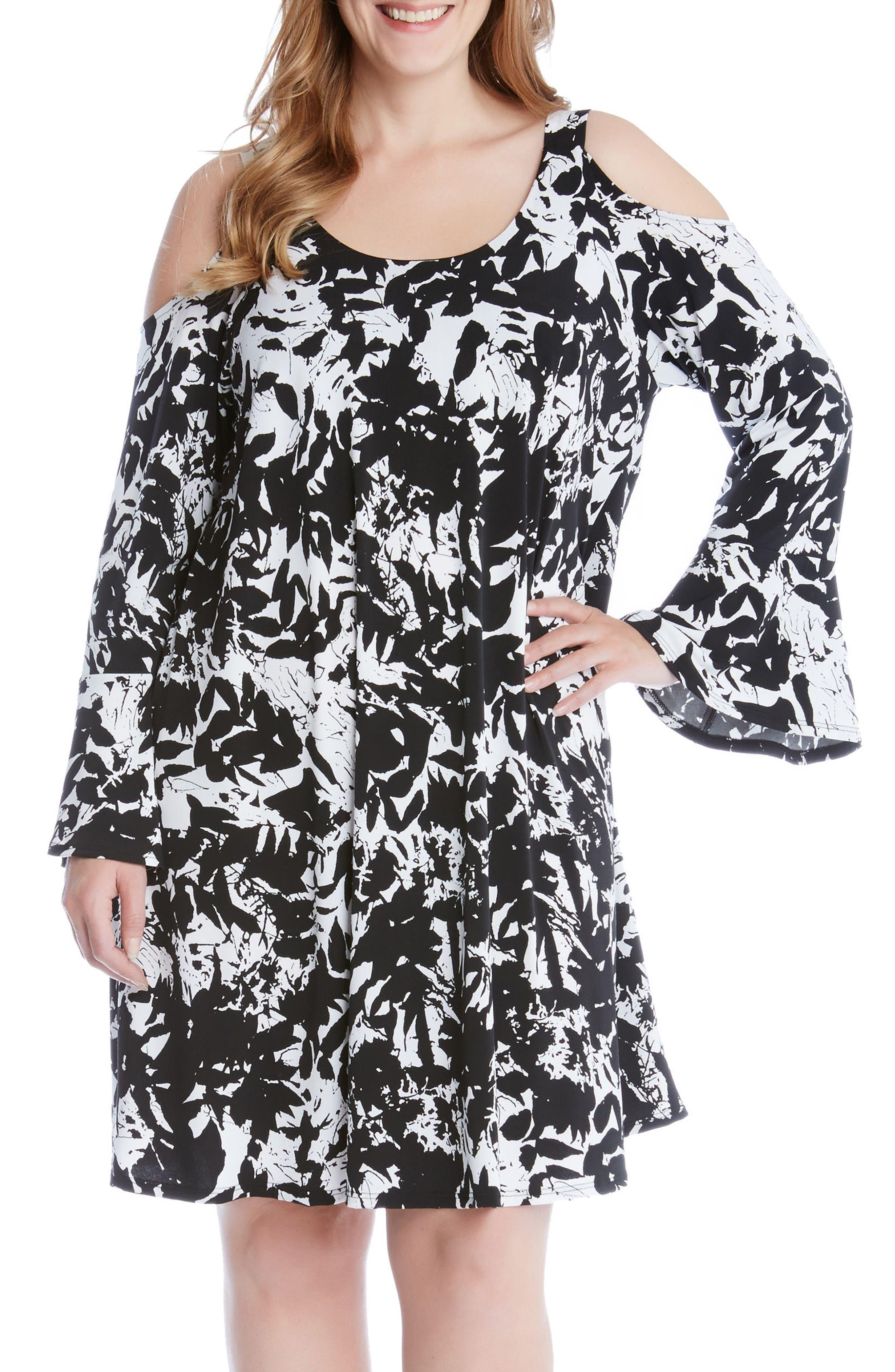 Karen Kane Cold Shoulder Bell Sleeve Dress (Plus Size)
