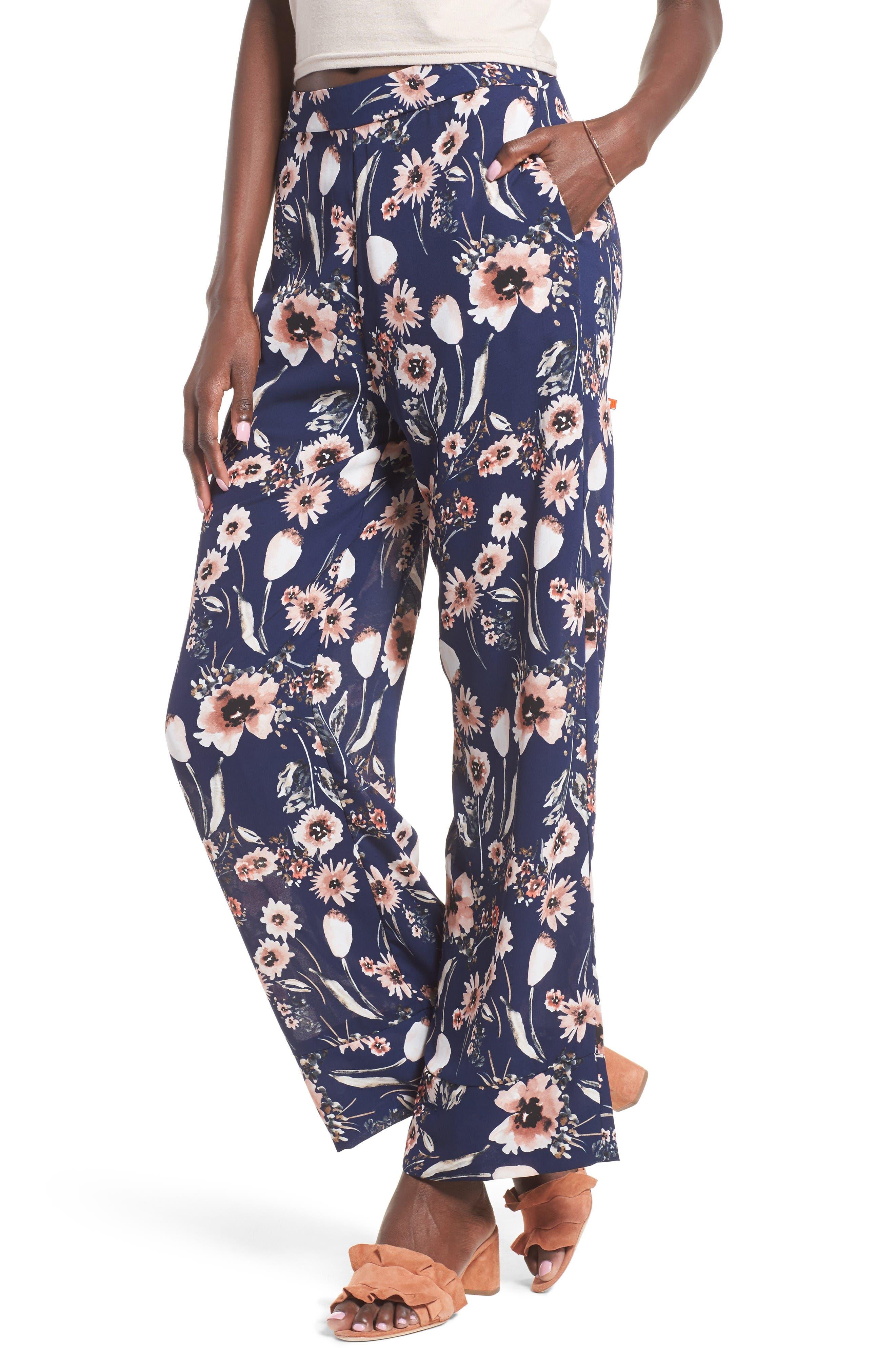 Wide Leg Pants,                             Main thumbnail 1, color,                             Navy Medieval Multi Floral