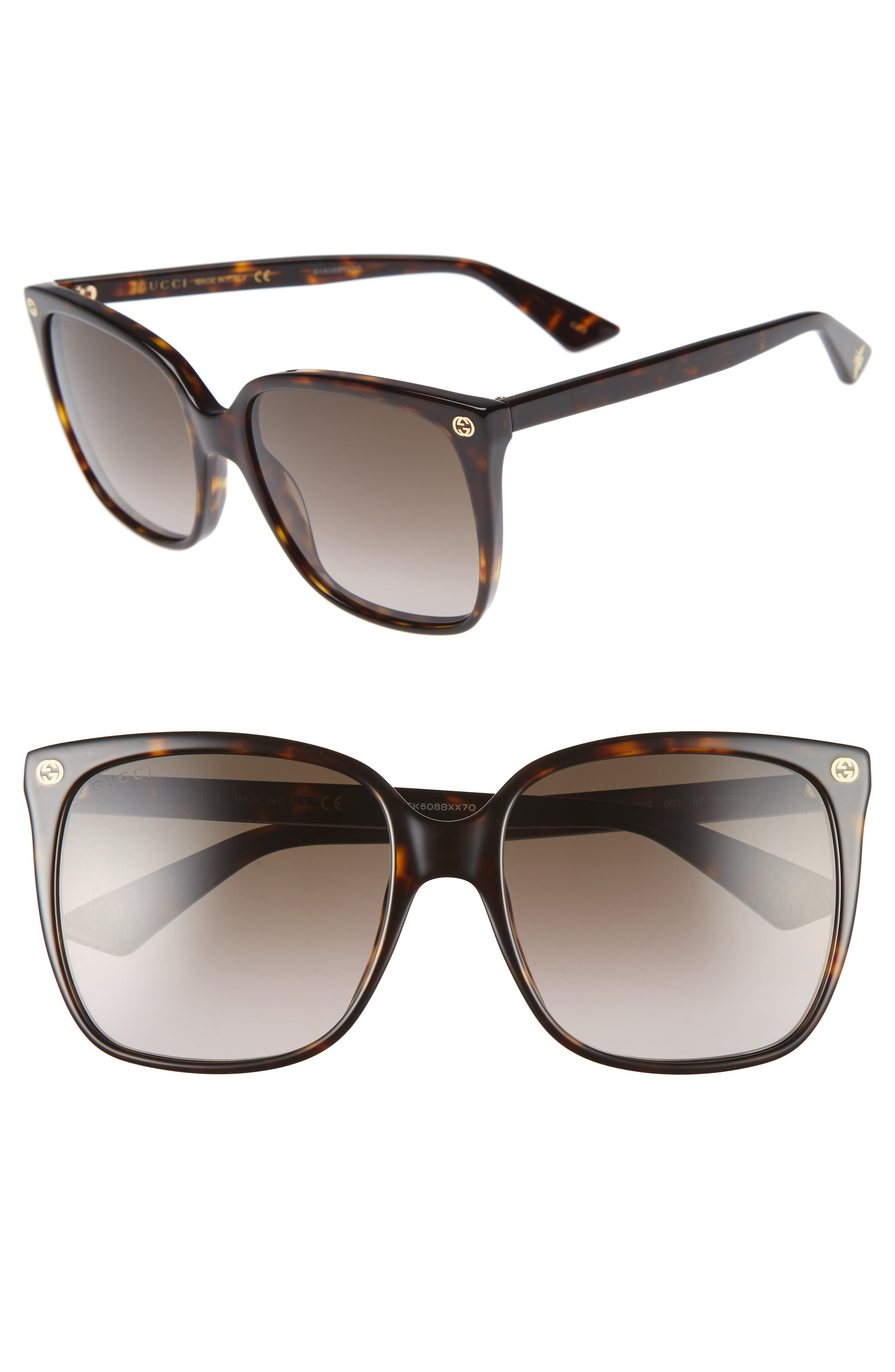 Alternate Image 1 Selected - Gucci 57mm Square Sunglasses