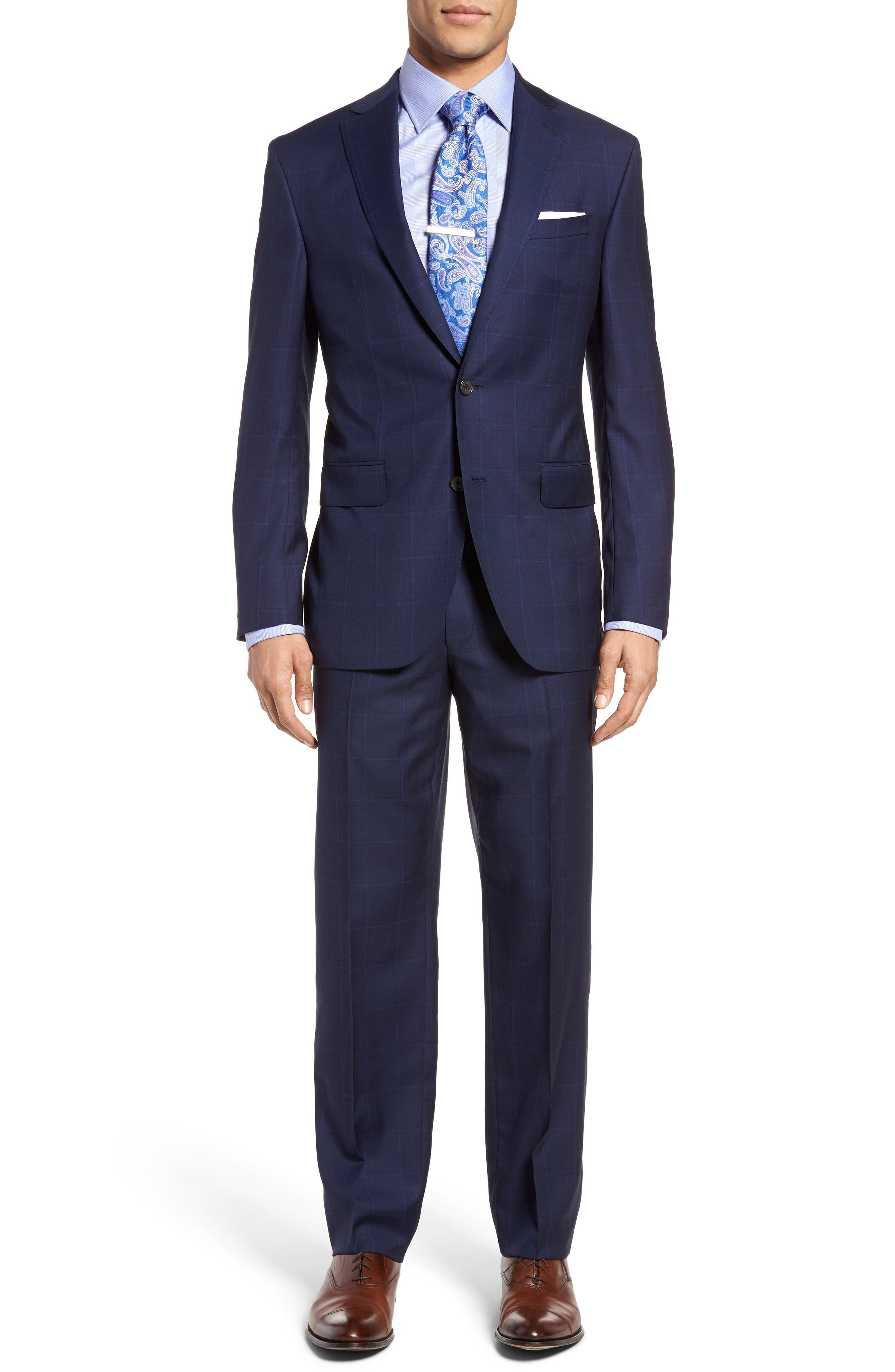 David Donahue Ryan Classic Fit Windowpane Wool Suit