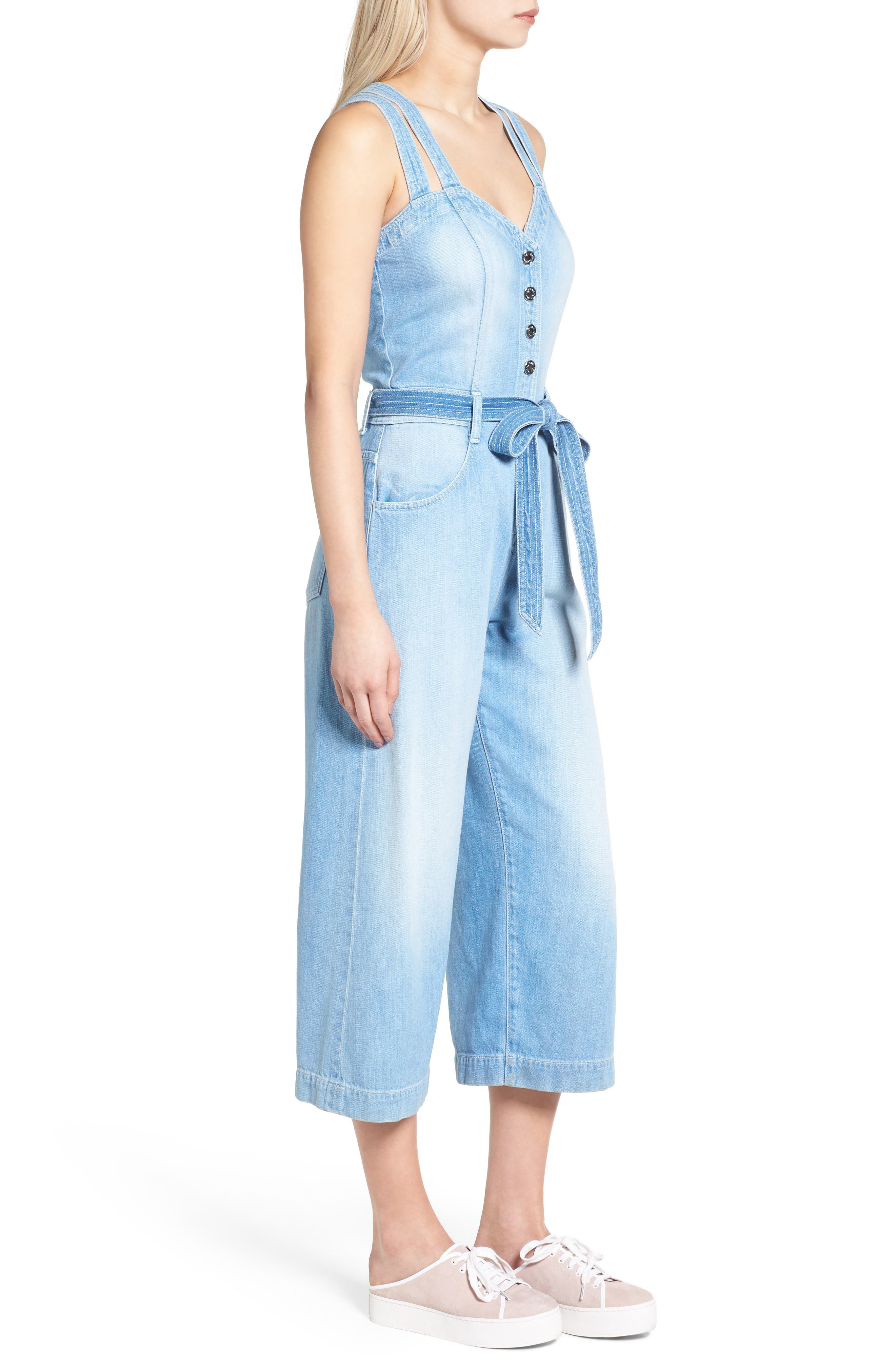 Alternate Image 3  - 7 For All Mankind® Denim Culotte Jumpsuit (Luxe Lounge Coastal Blue)