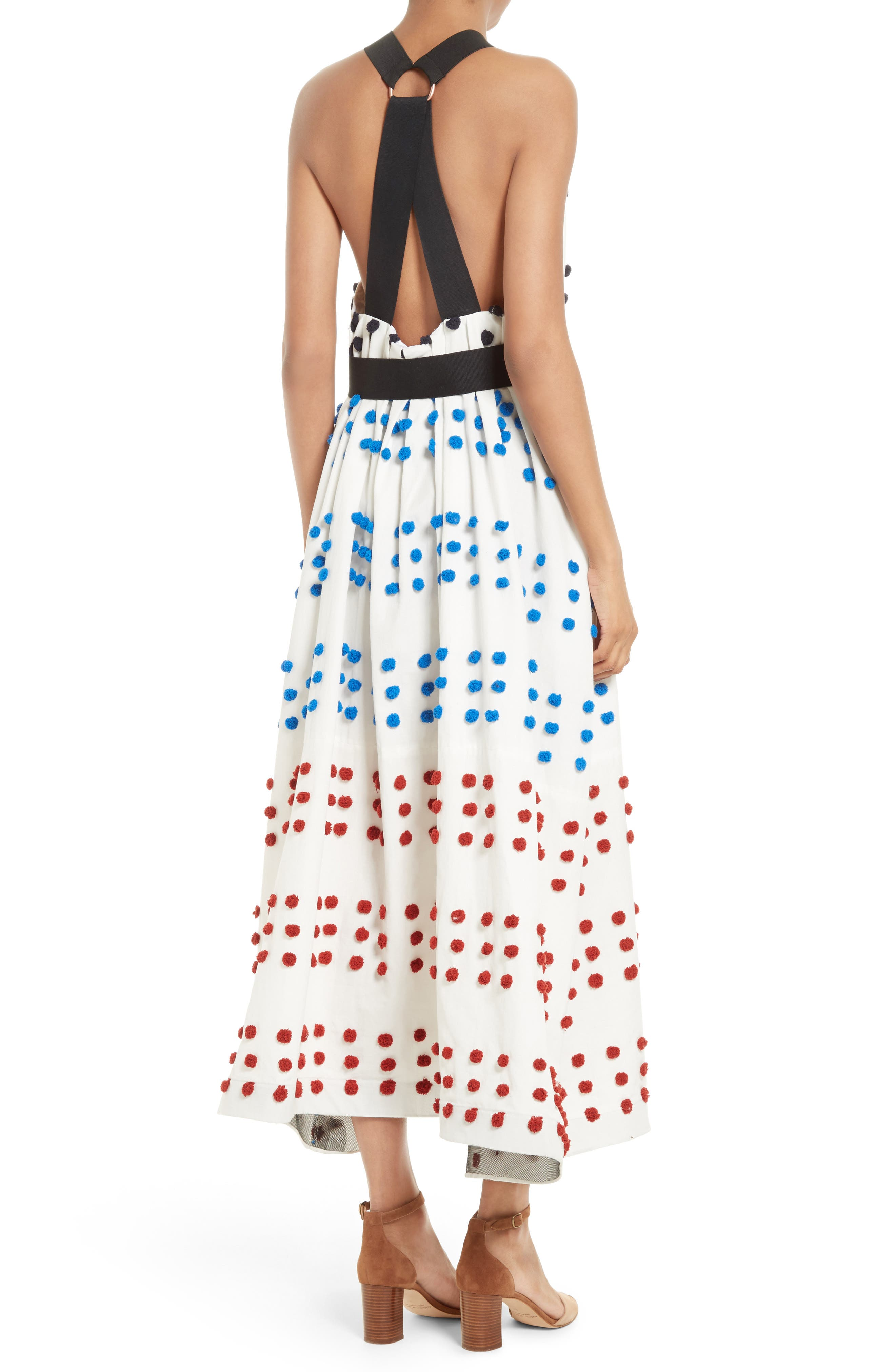 Alternate Image 2  - Tibi Pompom Halter Midi Dress