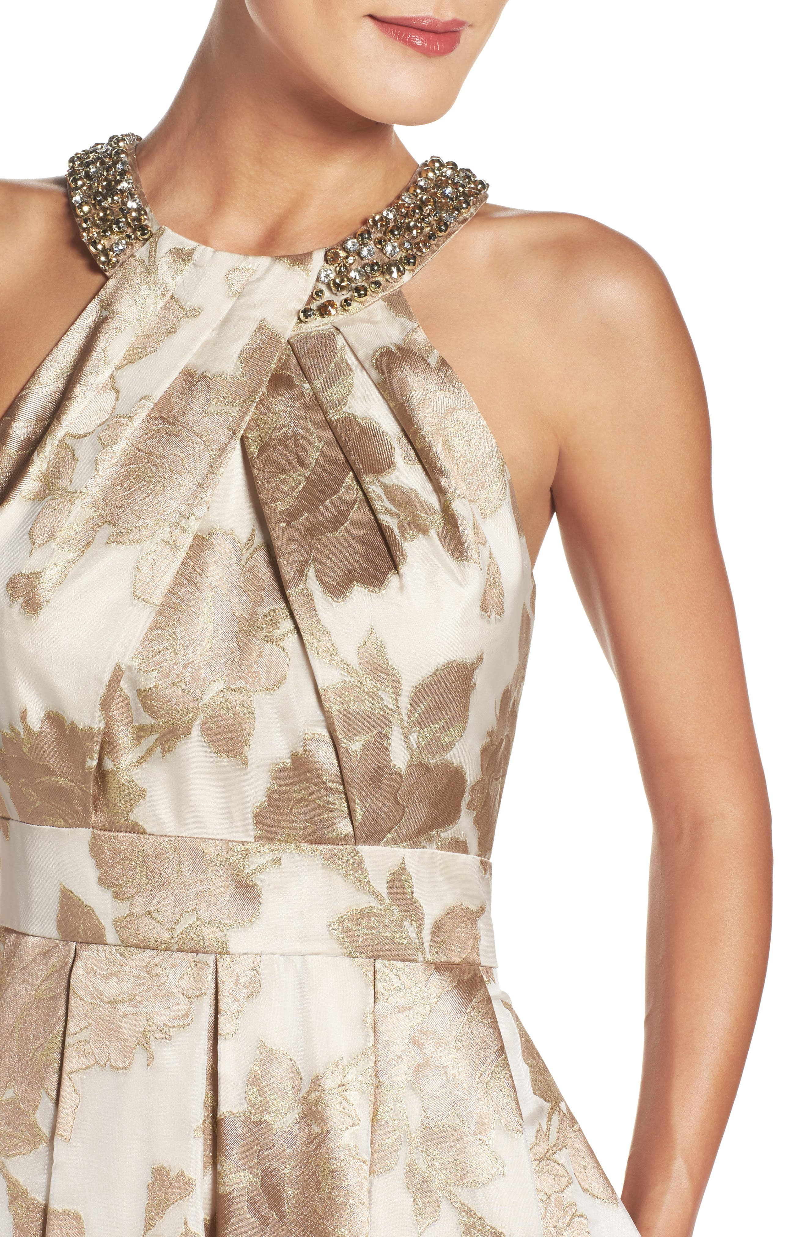 Embellished Floral Jacquard Fit & Flare Gown,                             Alternate thumbnail 4, color,                             Champagne