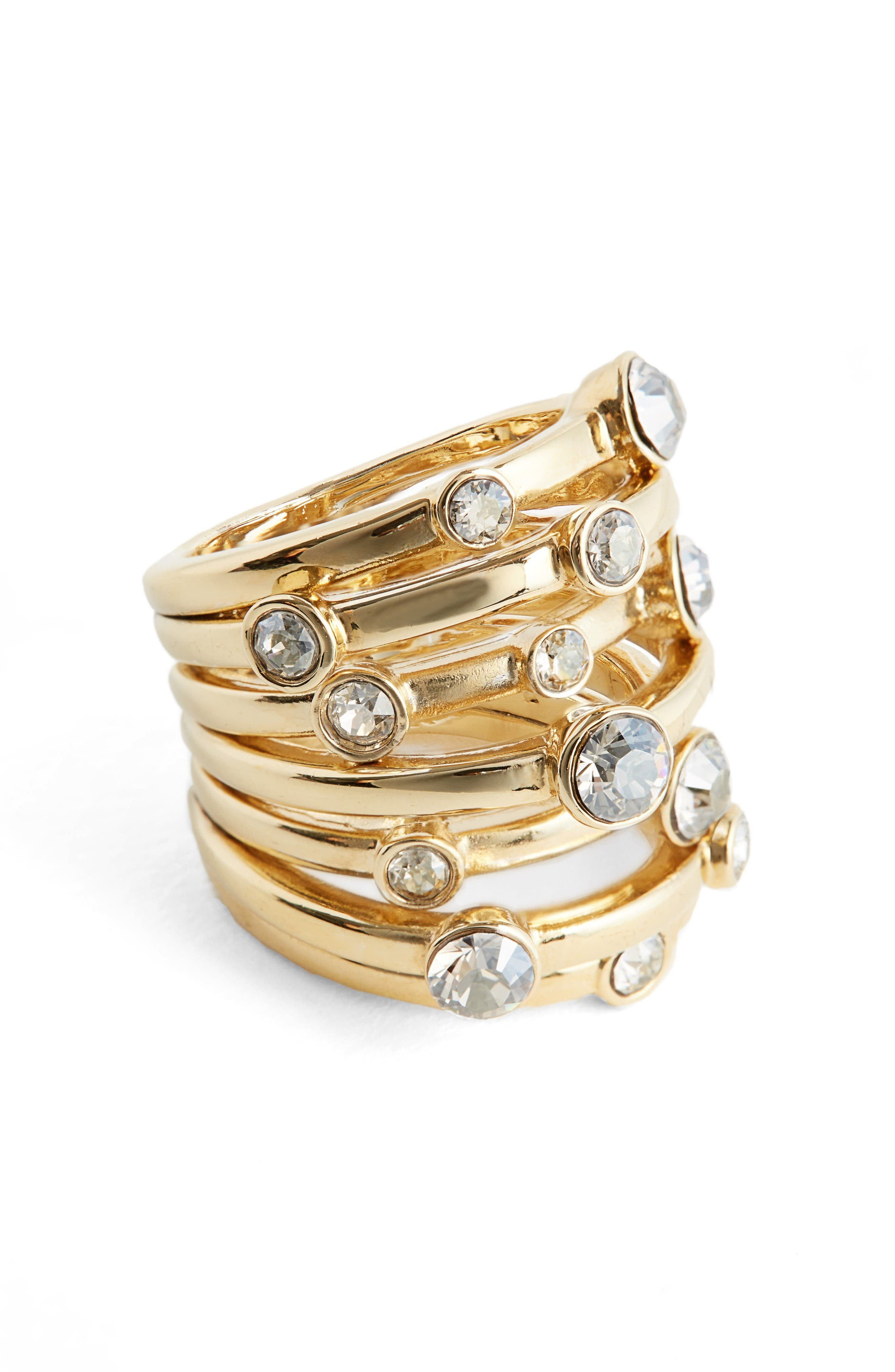 Swarovski Crystal Cocktail Ring,                             Main thumbnail 1, color,                             Light Gold/ Crystal Silver