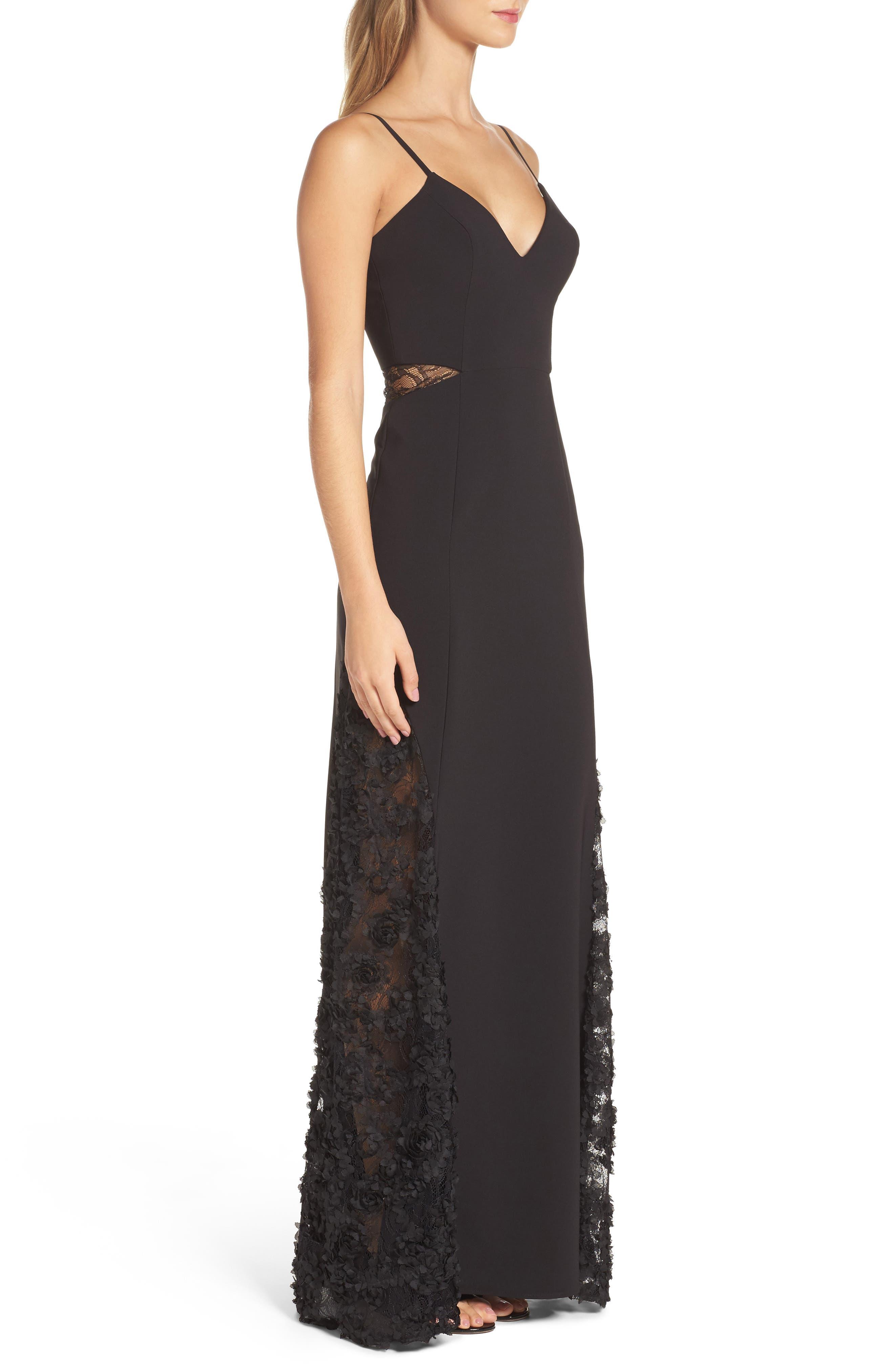 Shannon Lace Inset Gown,                             Alternate thumbnail 3, color,                             Black