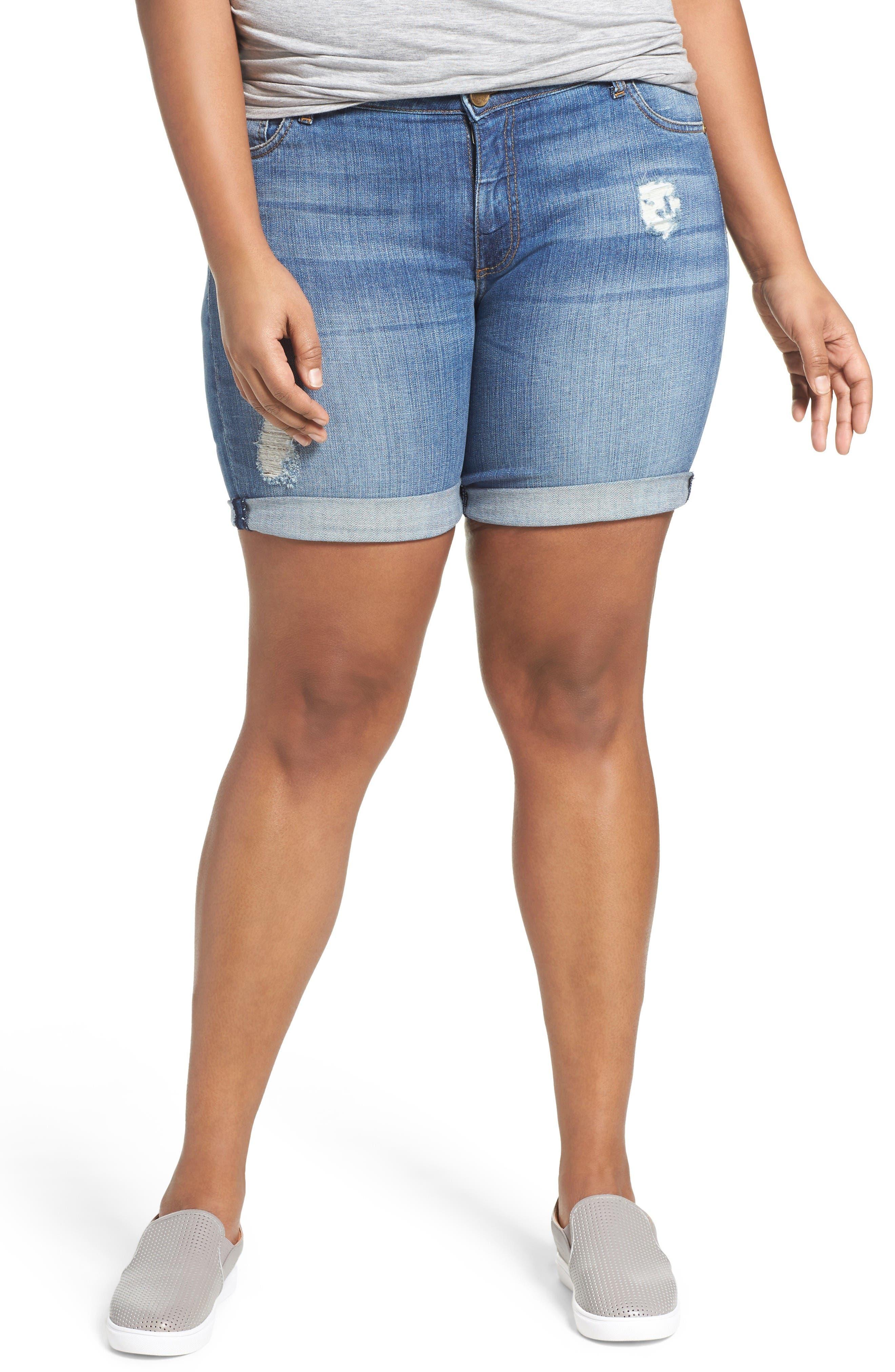 Roll Cuff Stretch Denim Shorts,                         Main,                         color, Envious