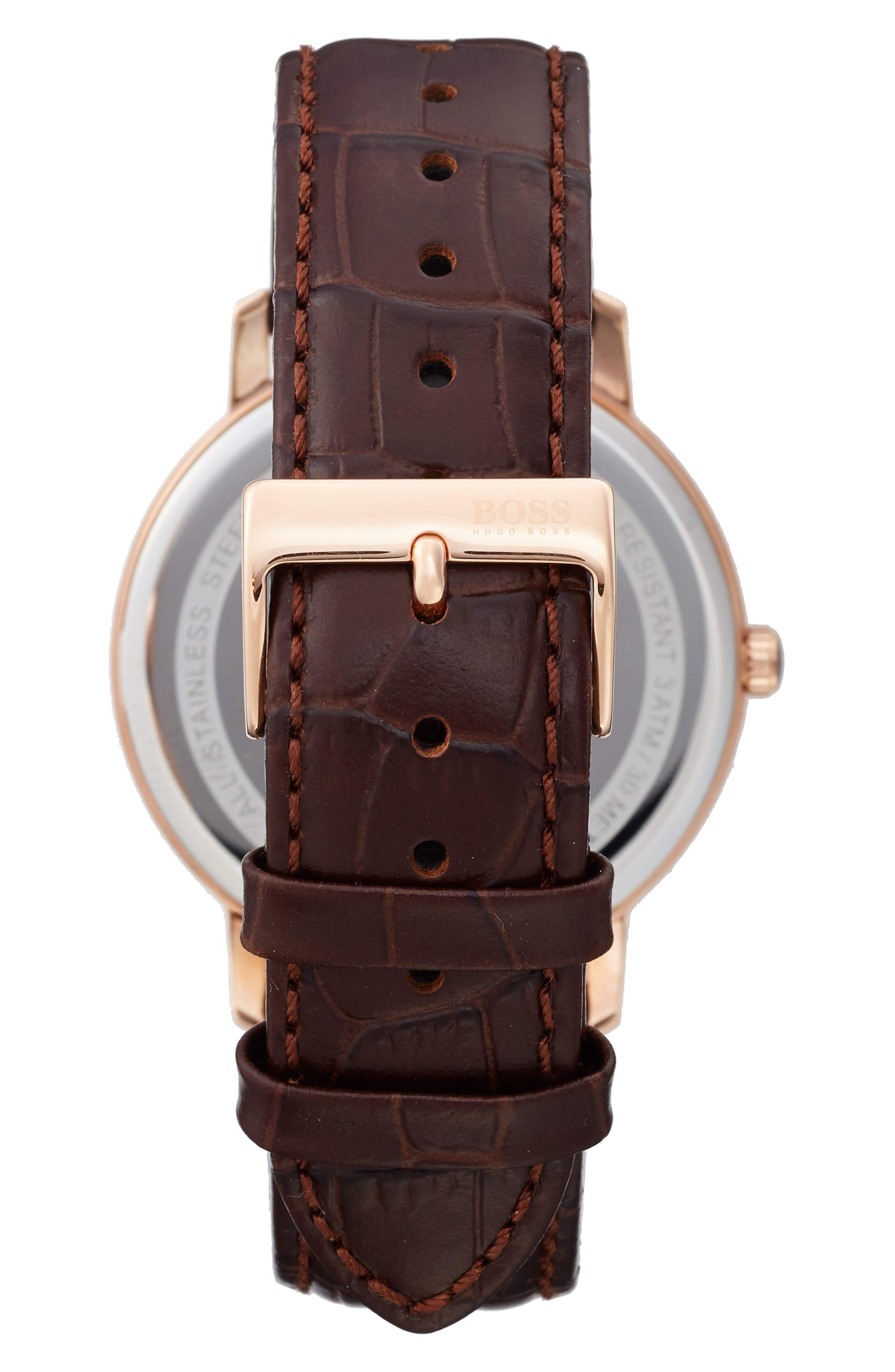 Tradition Leather Strap Watch, 40mm,                             Alternate thumbnail 2, color,                             White/ Brown