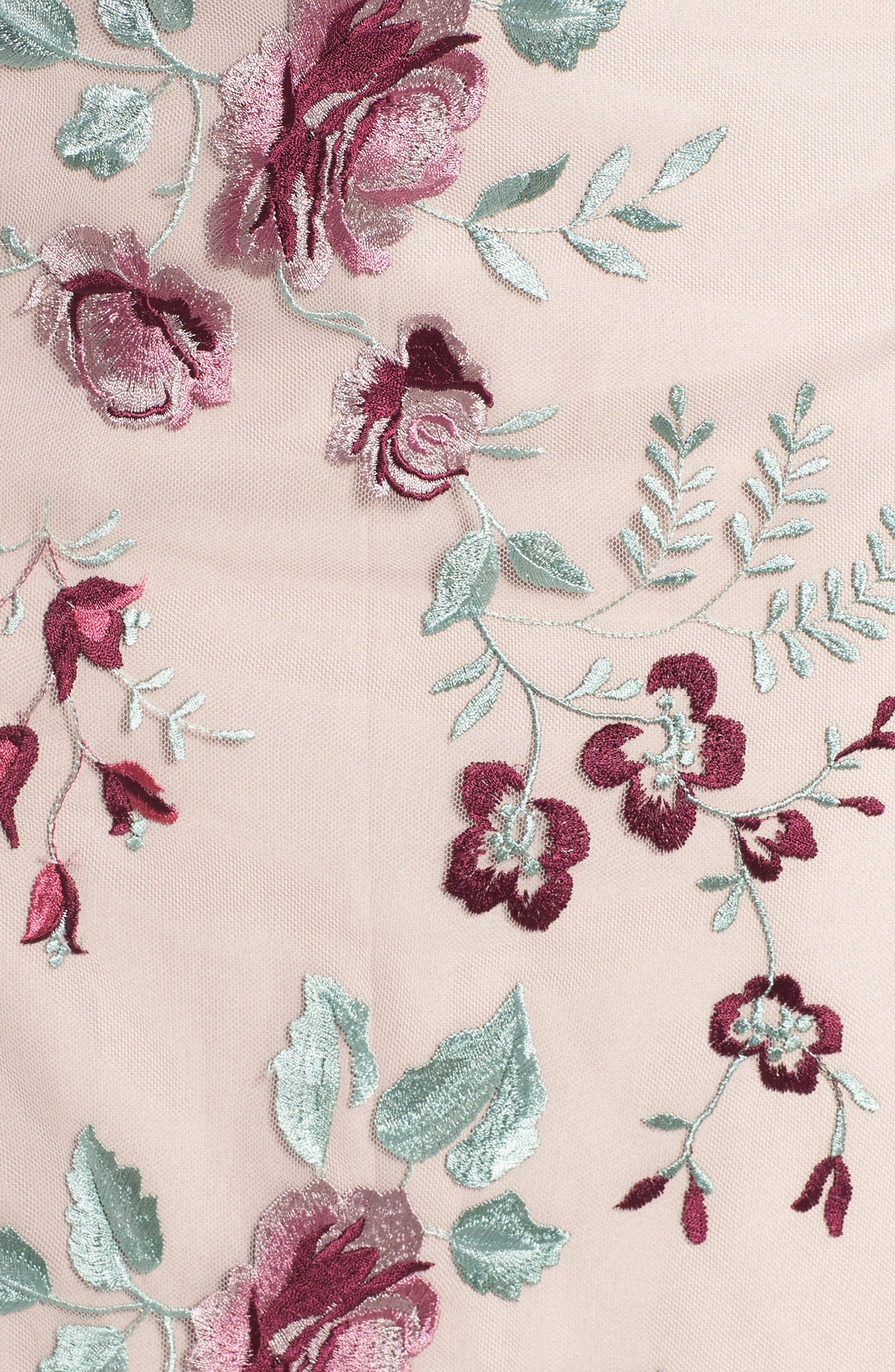 Claire Floral Embroidered Gown,                             Alternate thumbnail 5, color,                             Berry Vintage Iris