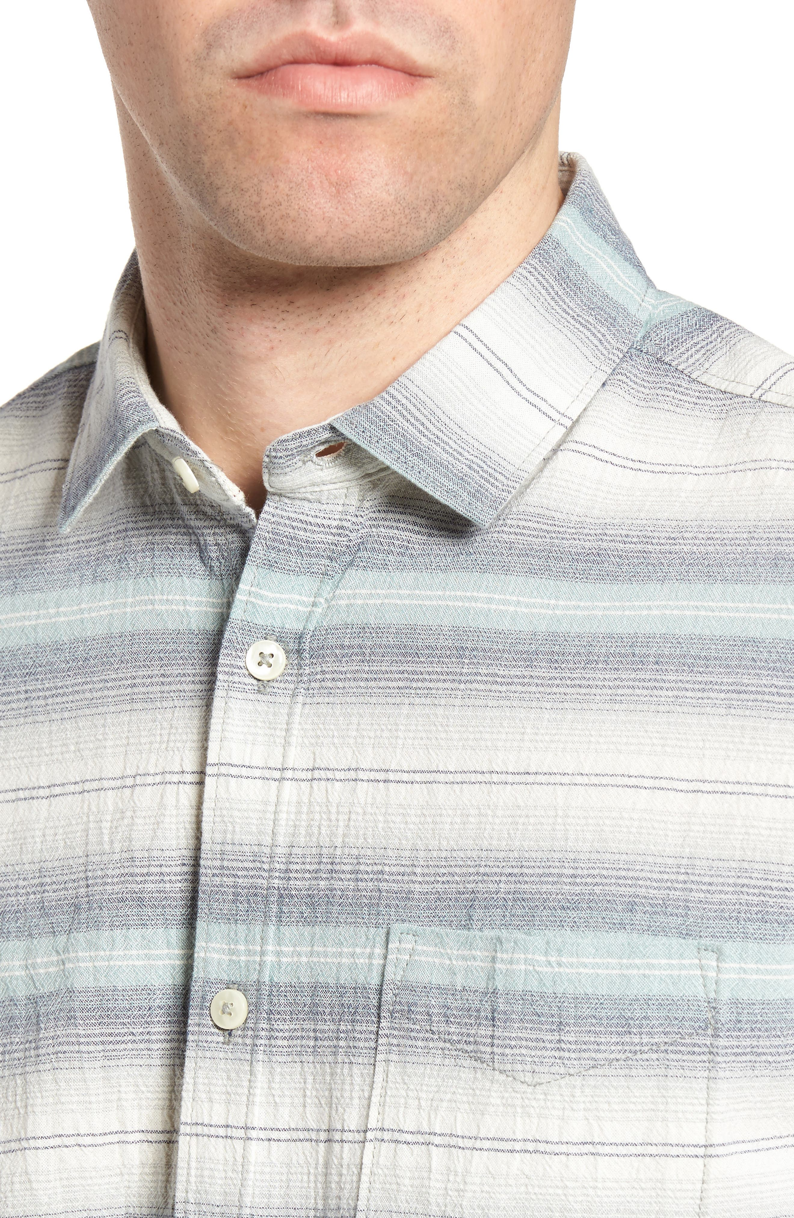 Gibson Regular Fit Textured Stripe Sport Shirt,                             Alternate thumbnail 4, color,                             Griffin