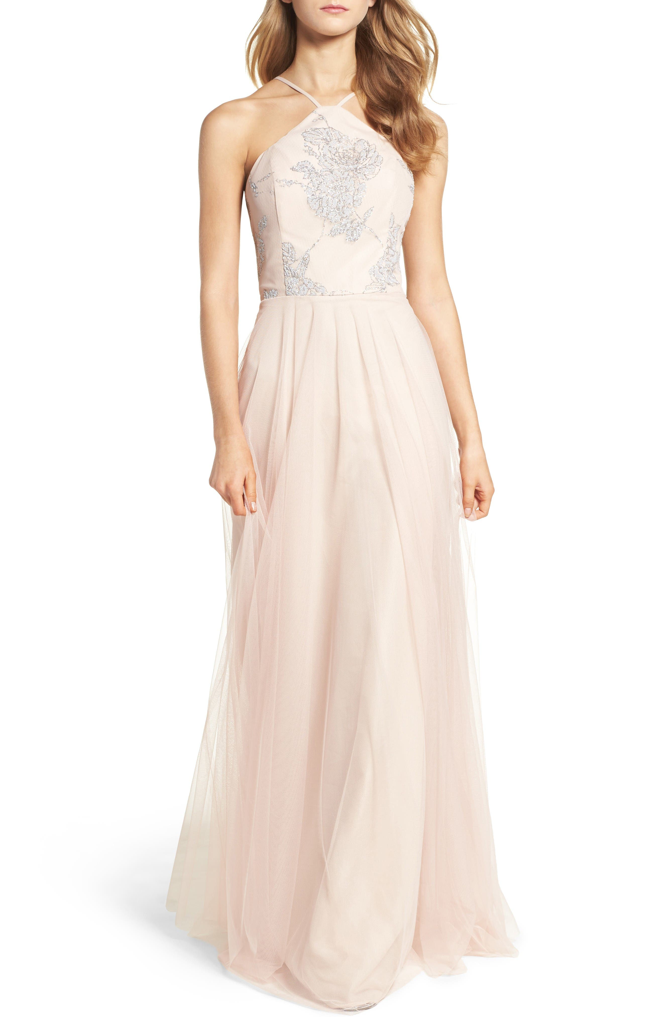 Metallic Embellished Gown,                         Main,                         color, Almond