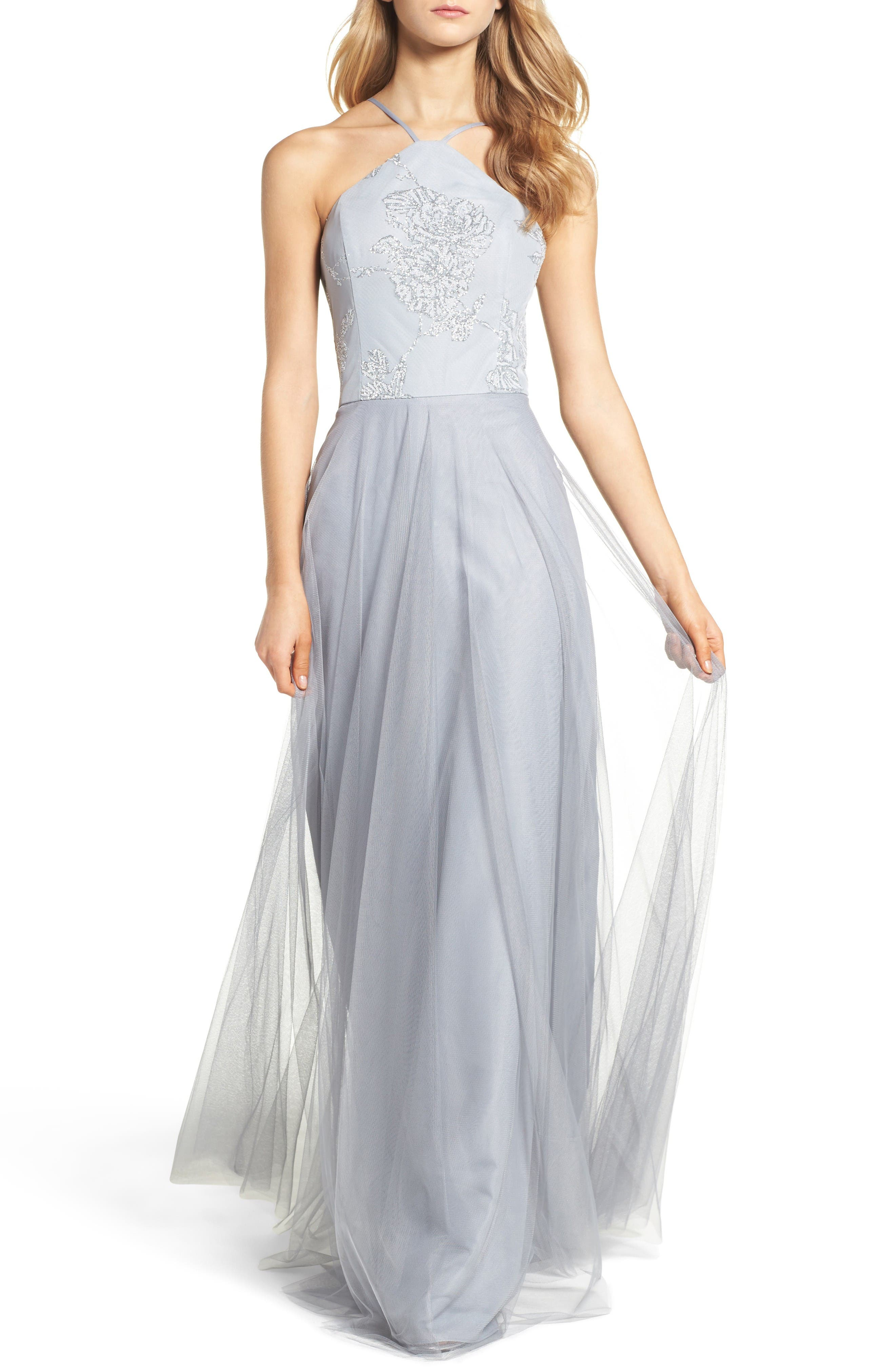 Main Image - Hayley Paige Occasions Metallic Embellished Gown