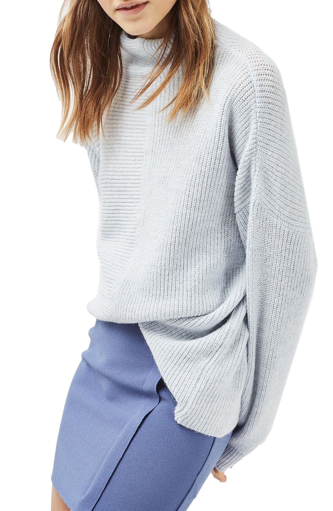 Main Image - Topshop Mixed Rib Funnel Sweater