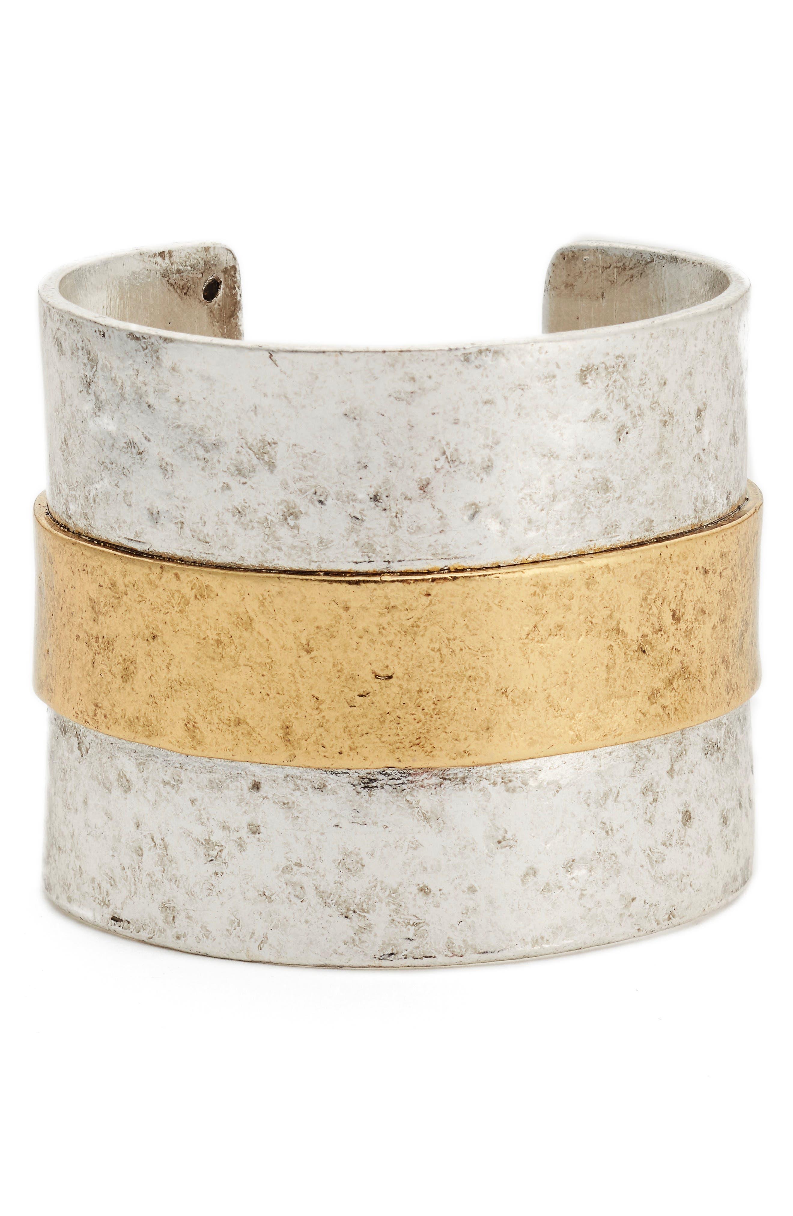 Carolina Textured Cuff,                         Main,                         color, Silver
