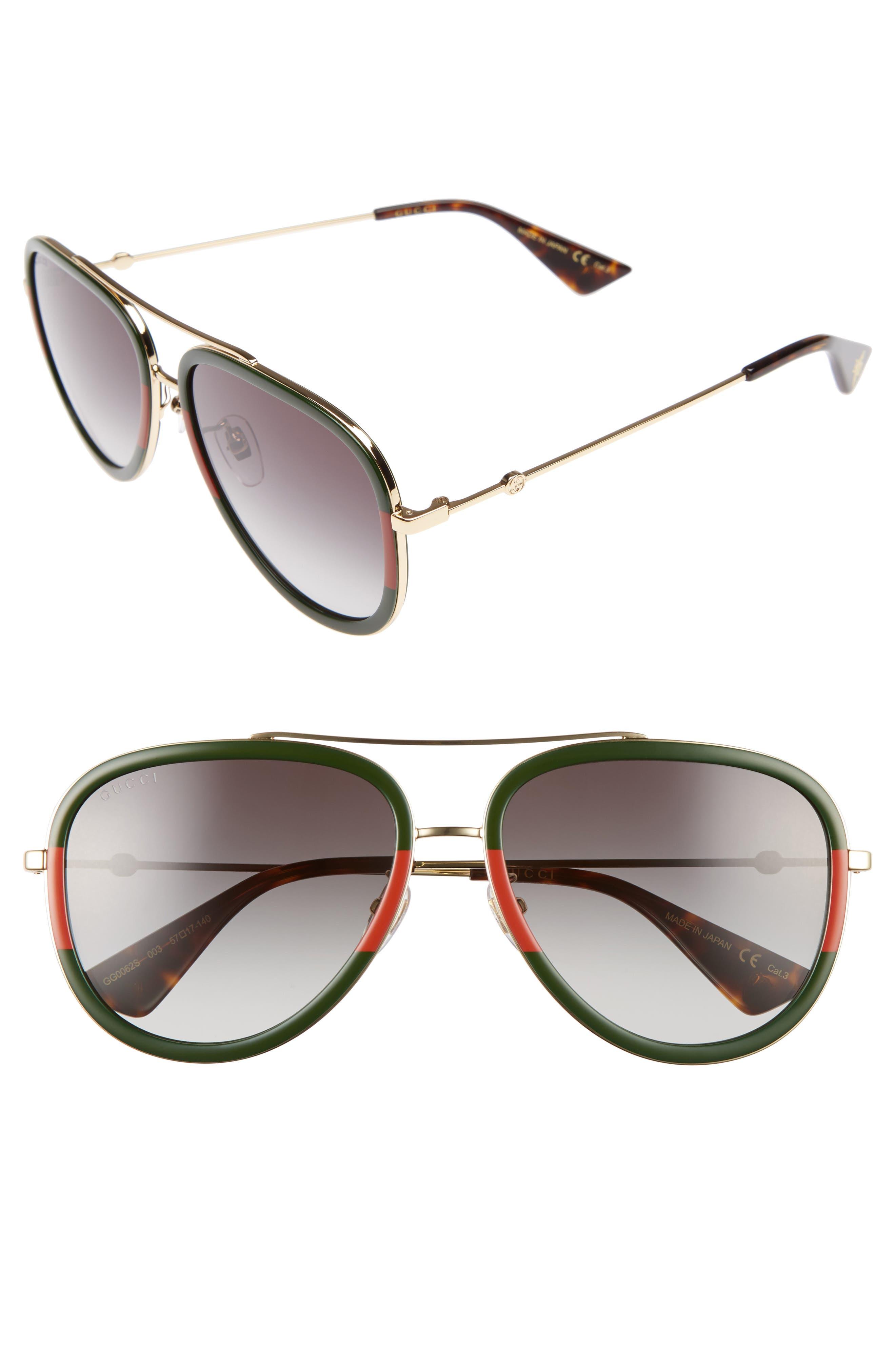 Alternate Image 1 Selected - Gucci 57mm Aviator Sunglasses