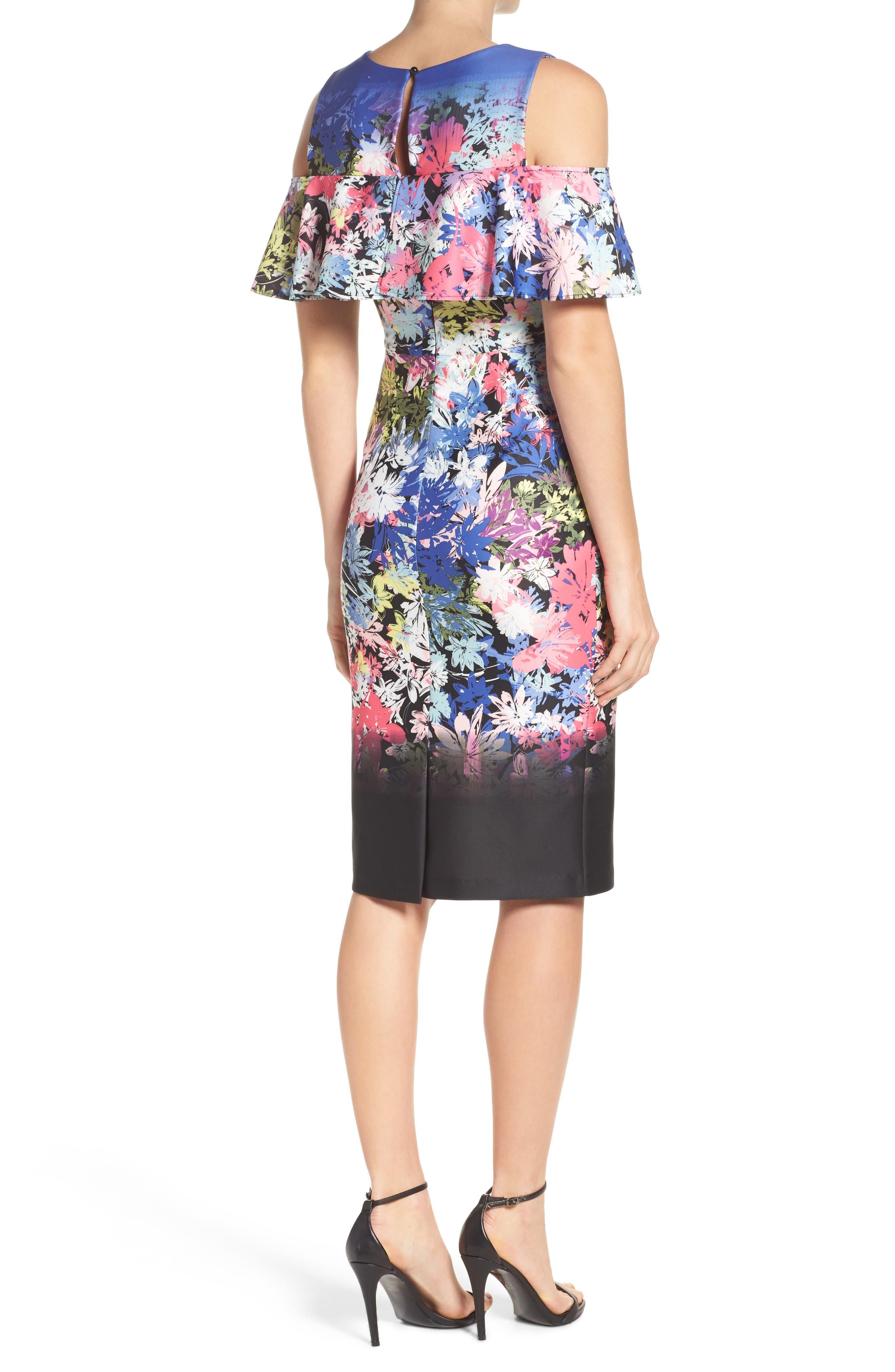 Cold Shoulder Sheath Dress,                             Alternate thumbnail 2, color,                             Black/ Multi