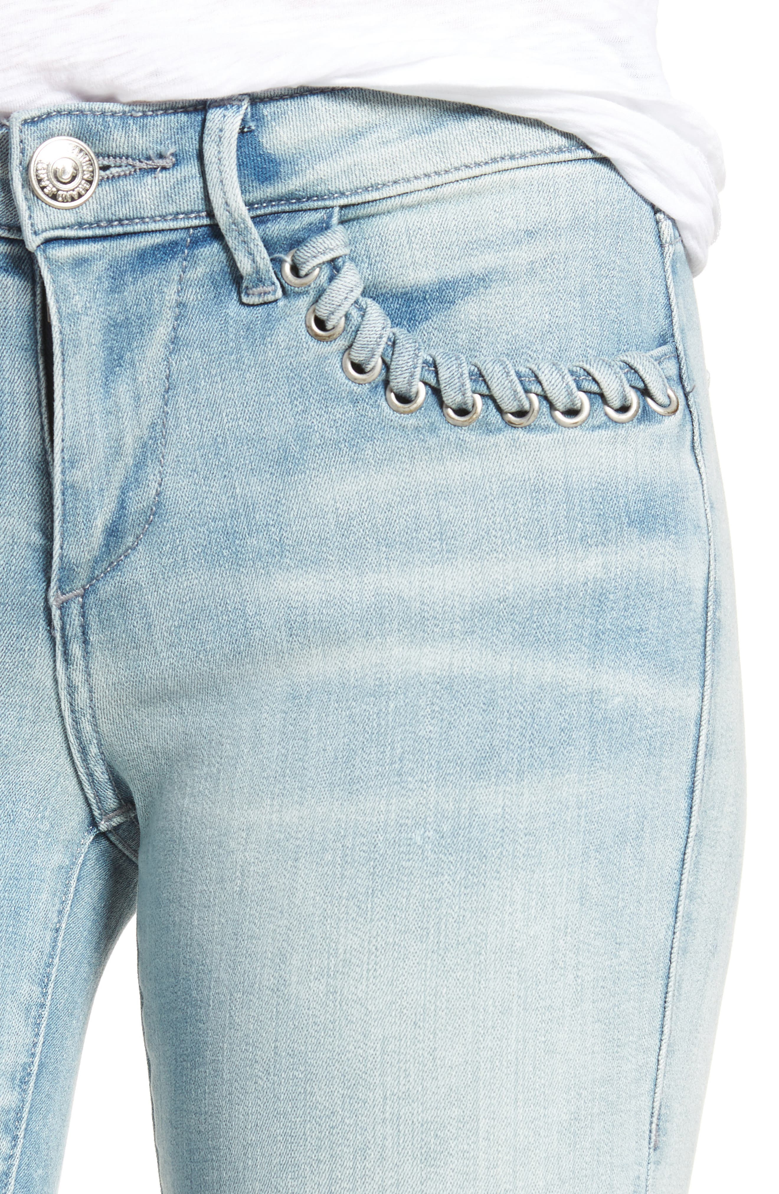 Halle Super Skinny Jeans,                             Alternate thumbnail 5, color,                             Cloud Nine