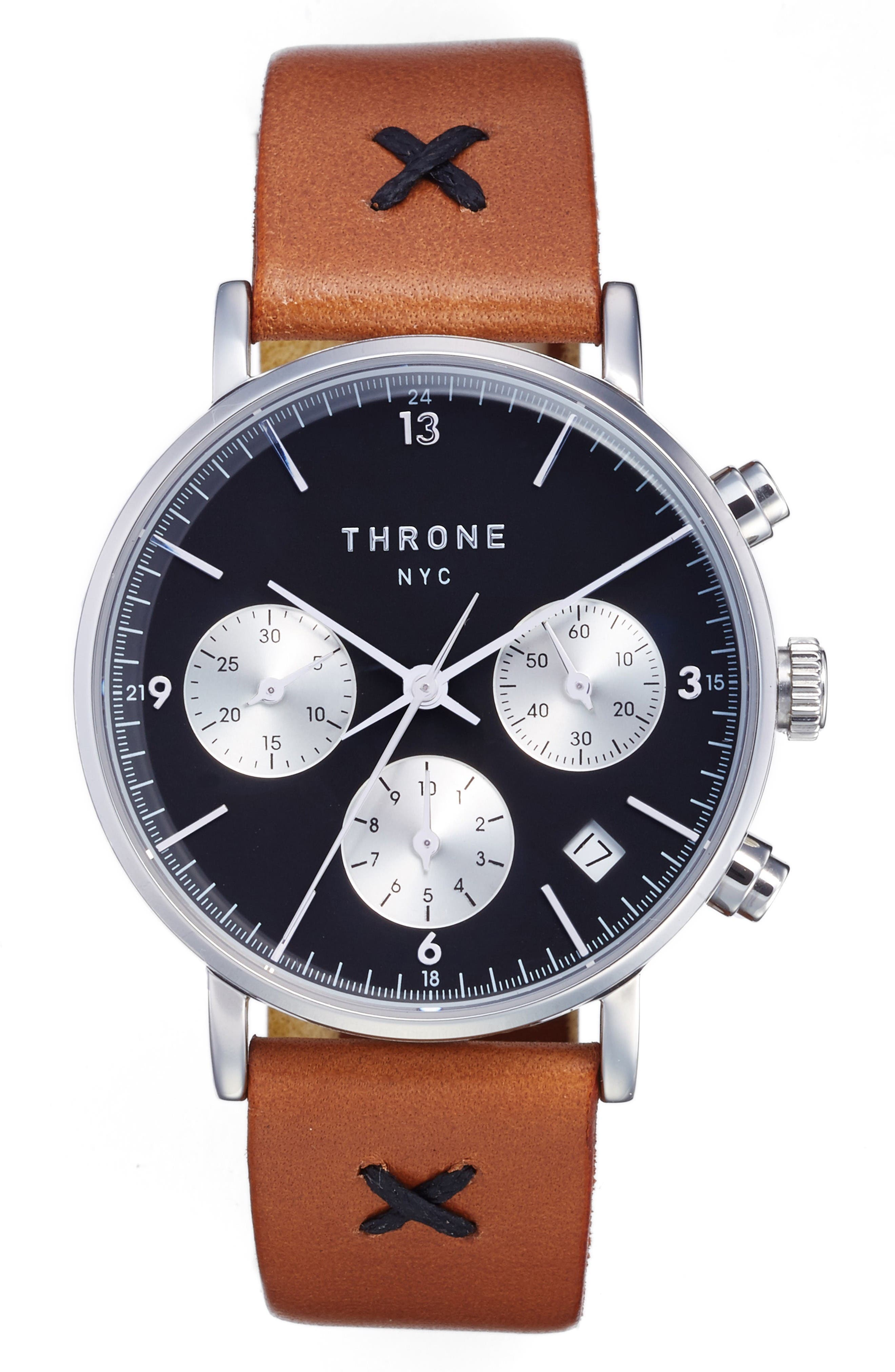 Main Image - Throne 2.0 Chronograph Leather Strap Watch, 40mm