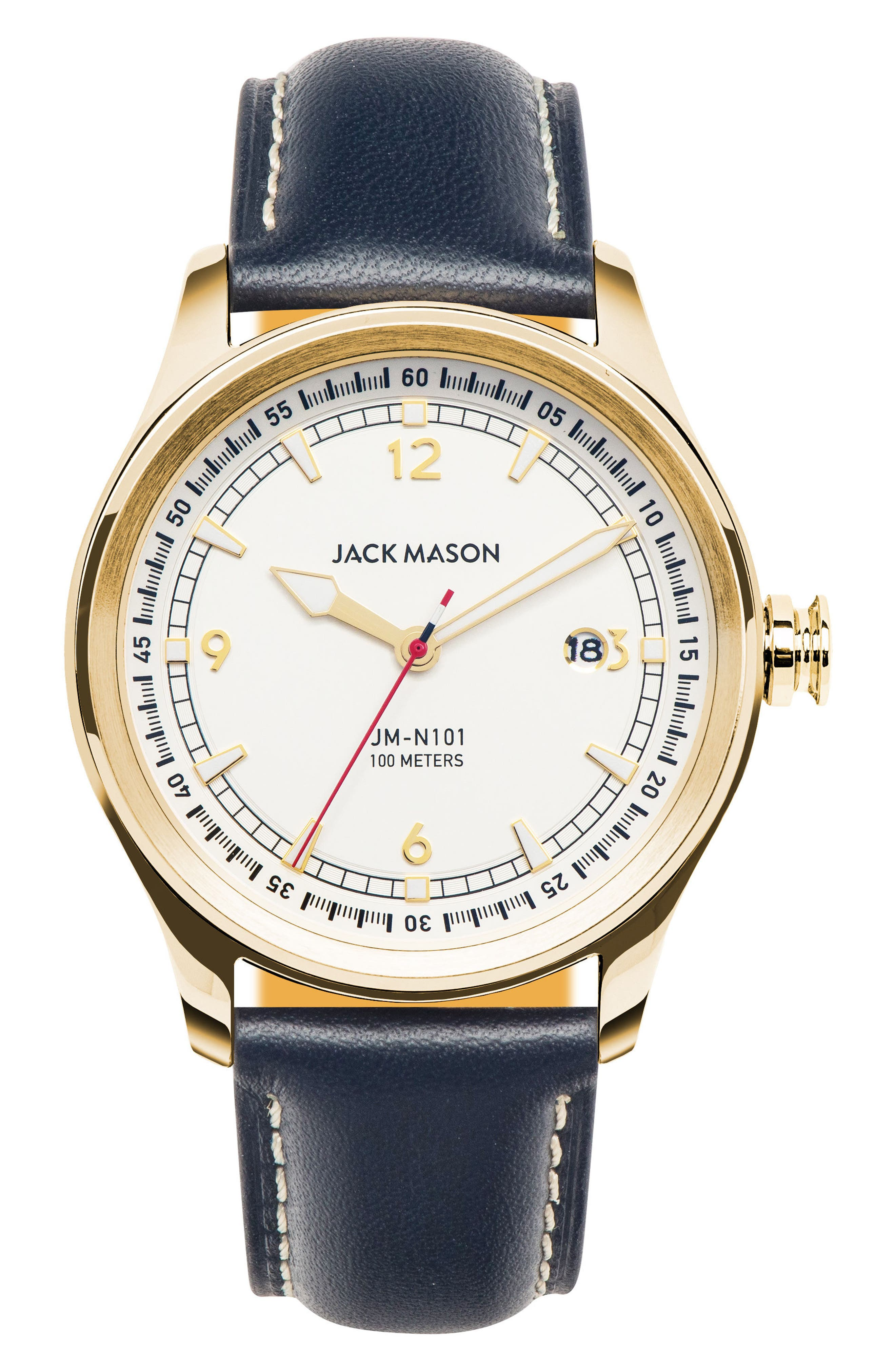 Nautical Leather Strap Watch, 42mm,                             Main thumbnail 1, color,                             White/ Navy
