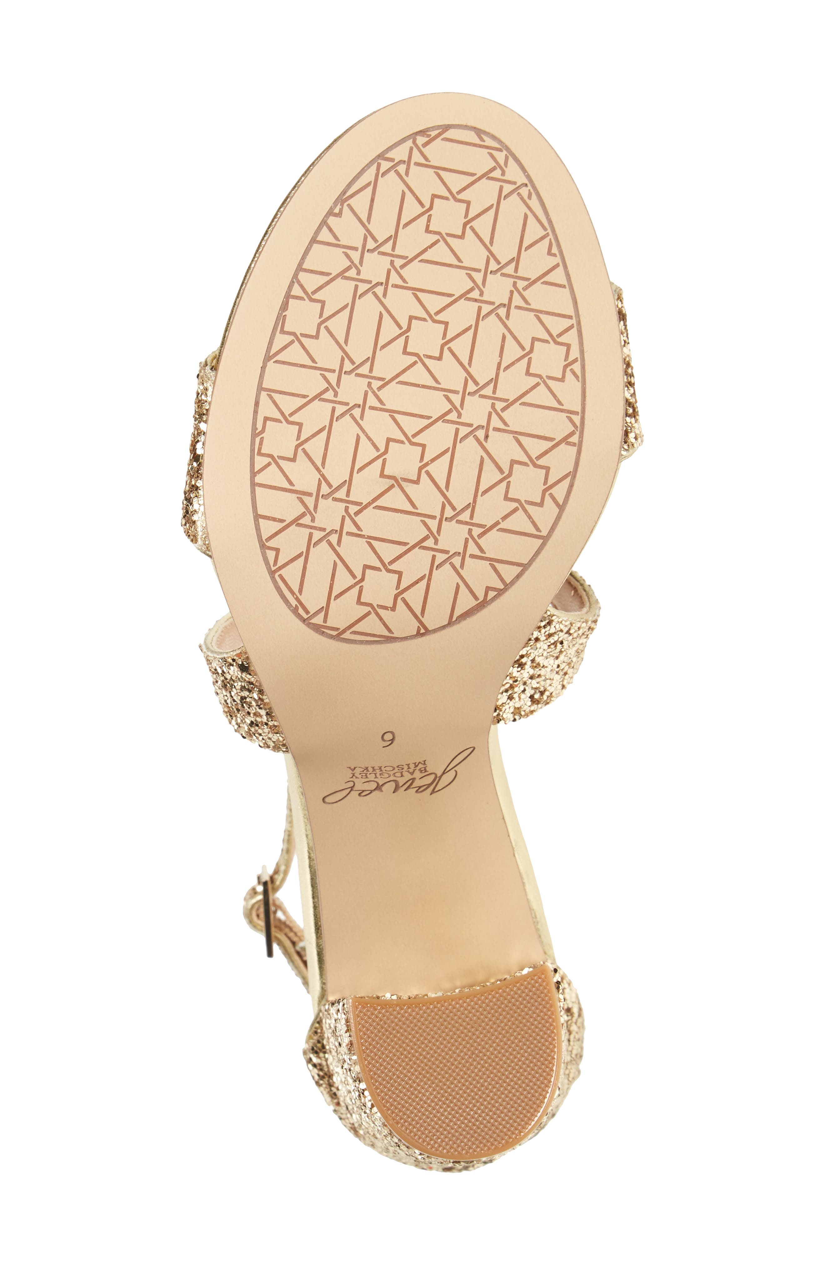 Cook Block Heel Glitter Sandal,                             Alternate thumbnail 4, color,                             Gold Leather