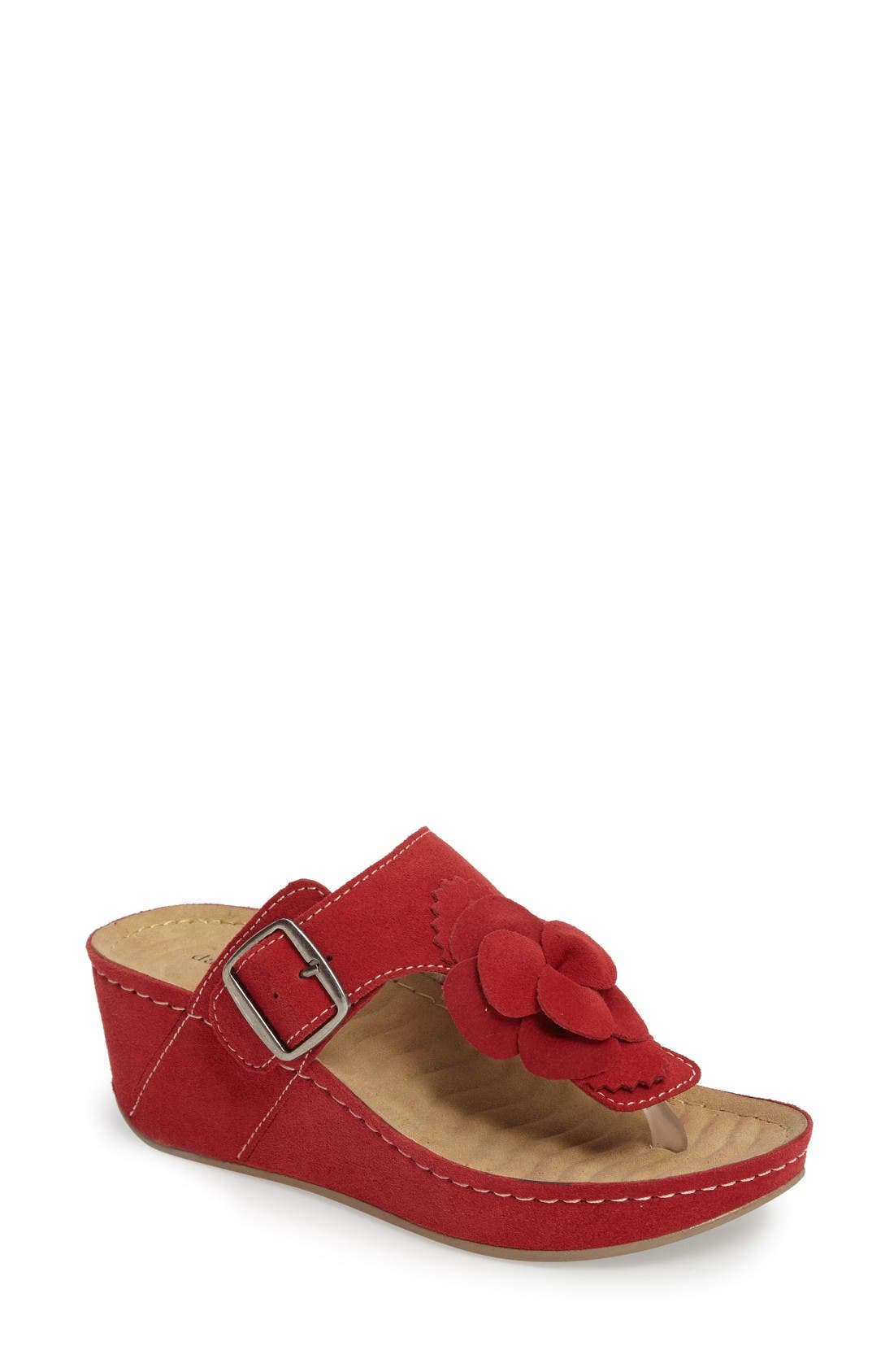 Spring Platform Wedge Sandal,                             Main thumbnail 1, color,                             Red Suede