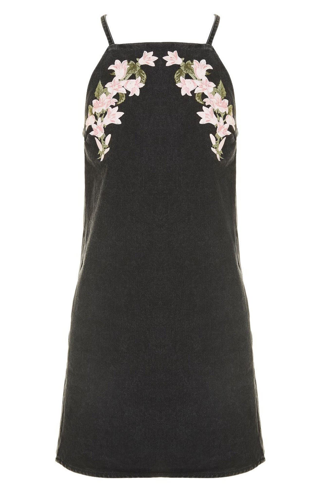 Alternate Image 5  - Topshop Tulip Embroidered Pinafore Dress