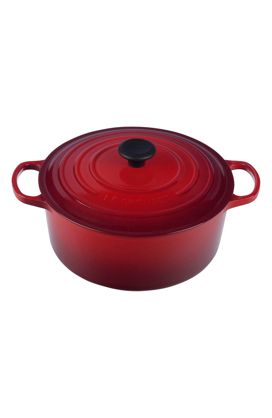 Signature 7 1/4 Quart Round Enamel Cast Iron French/Dutch Oven,                             Main thumbnail 1, color,                             Cherry