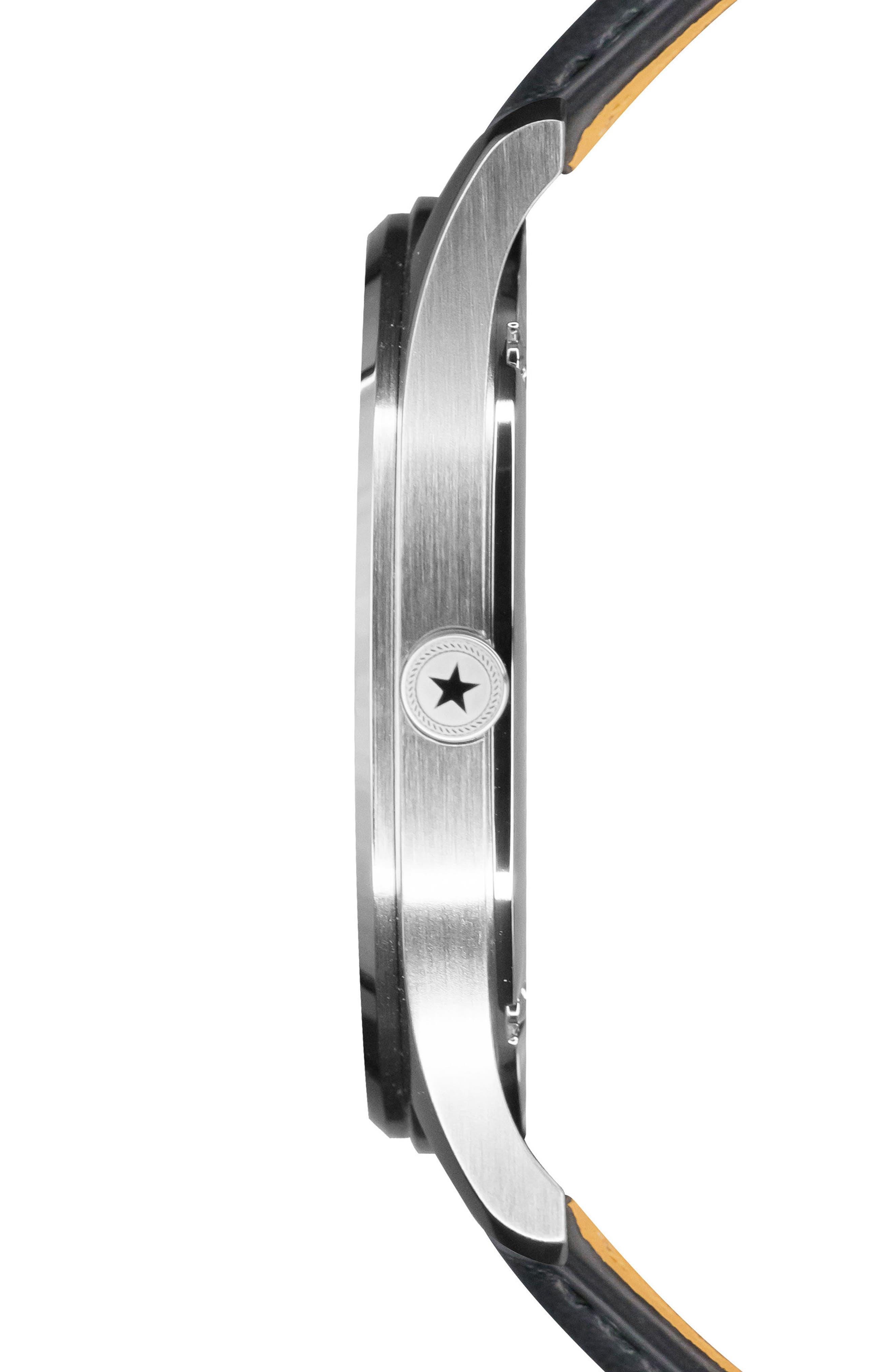 Slim Leather Strap Watch, 42mm,                             Alternate thumbnail 3, color,                             Black/ Black