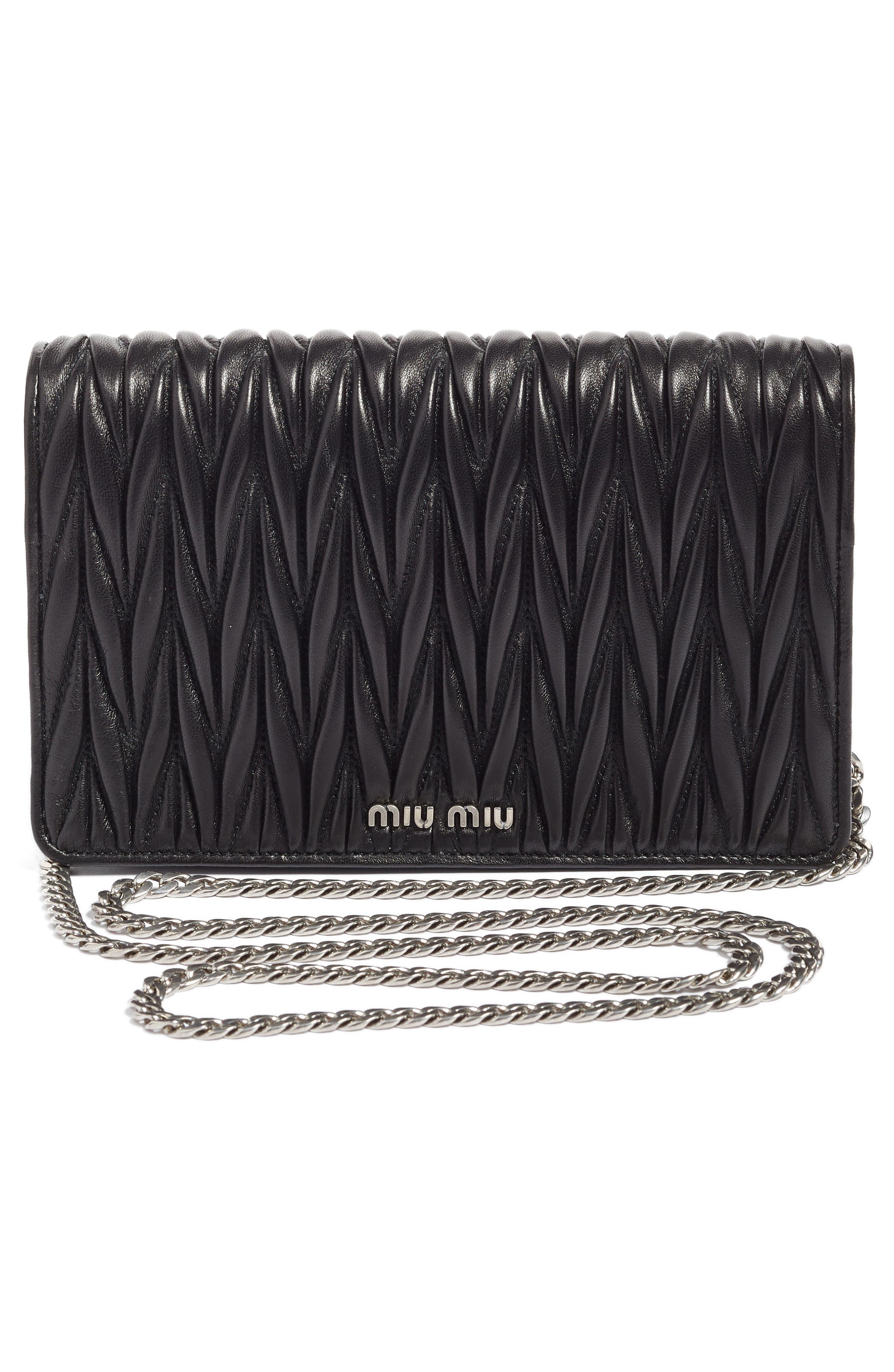 Alternate Image 4  - Miu Miu Delice Matelassé Leather Wallet on a Chain